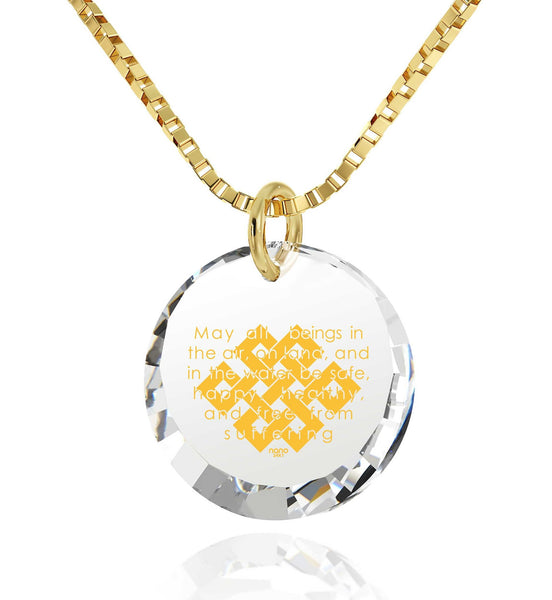 """Metta Prayer"", 24k Gold Plated Necklace, Cubic Zirconia"