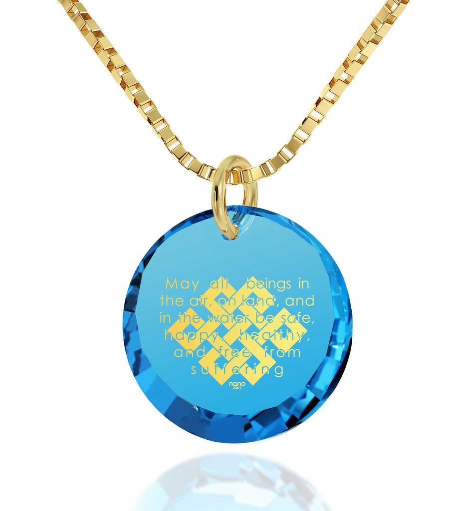 """Metta Prayer"", 14k Gold Necklace, Cubic Zirconia"