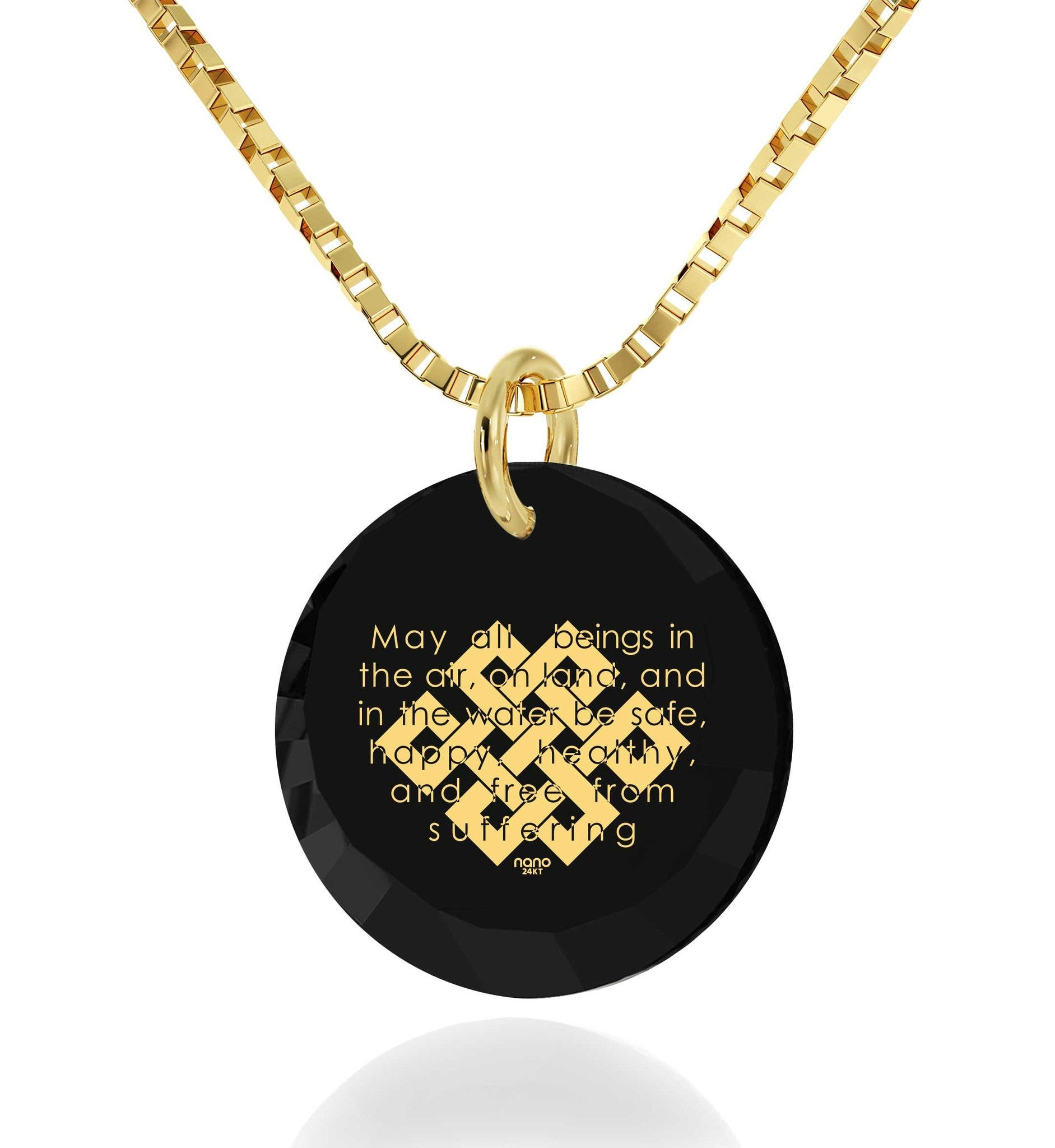 """Metta Prayer"", Gold Filled Necklace, Zirconia"