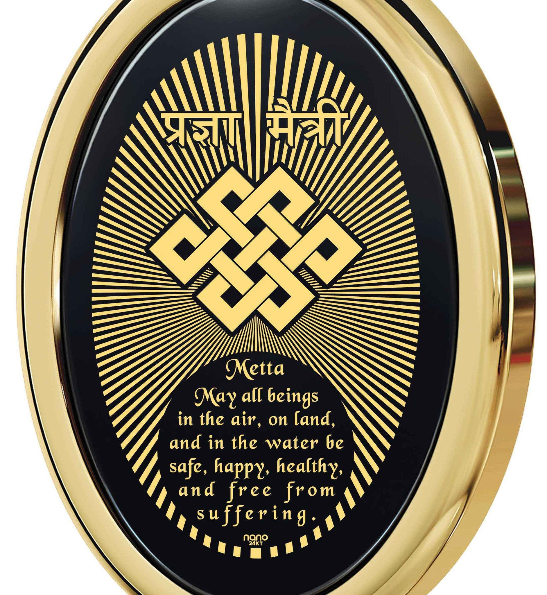 """Metta Prayer"", 24k gold plated, Onyx"