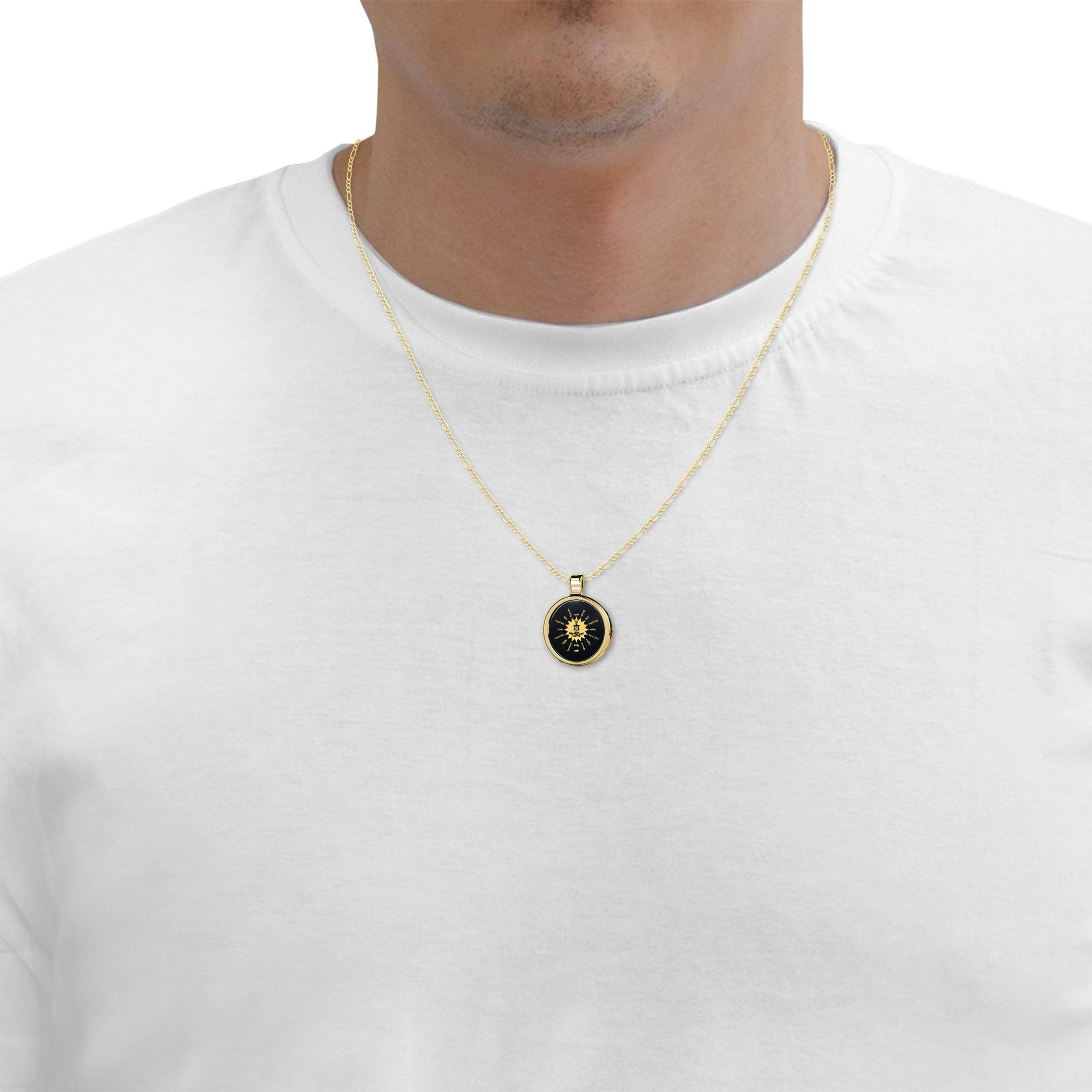 Gold Buddha Necklace for Him, Nano Jewelry