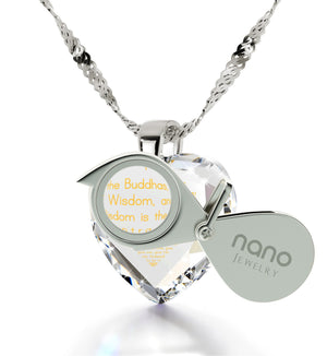 """Heart Sutra"", 14k White Gold Necklace, Cubic Zirconia"