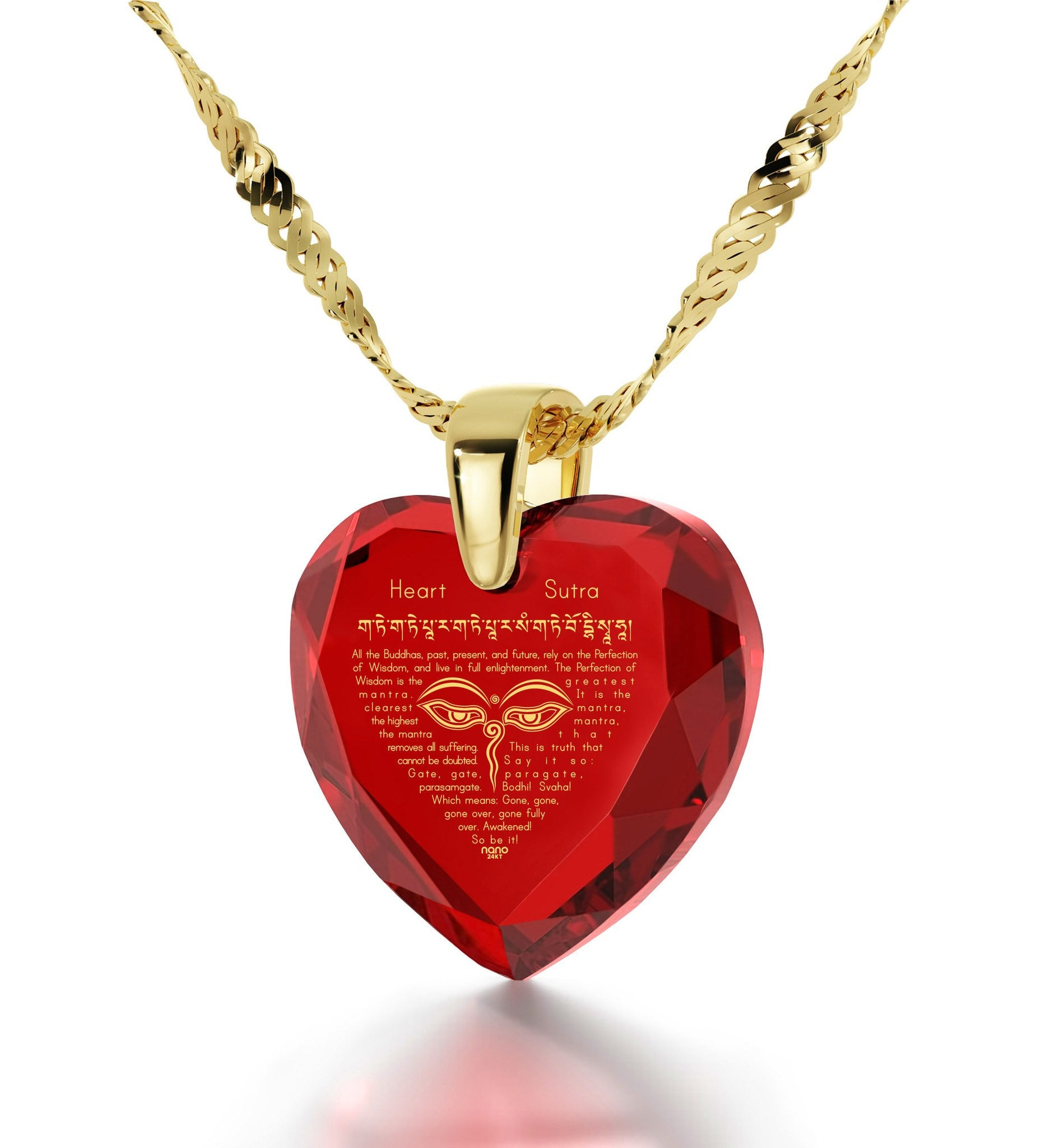 """Heart Sutra"", 3 Microns Gold Plated Necklace, Zirconia"