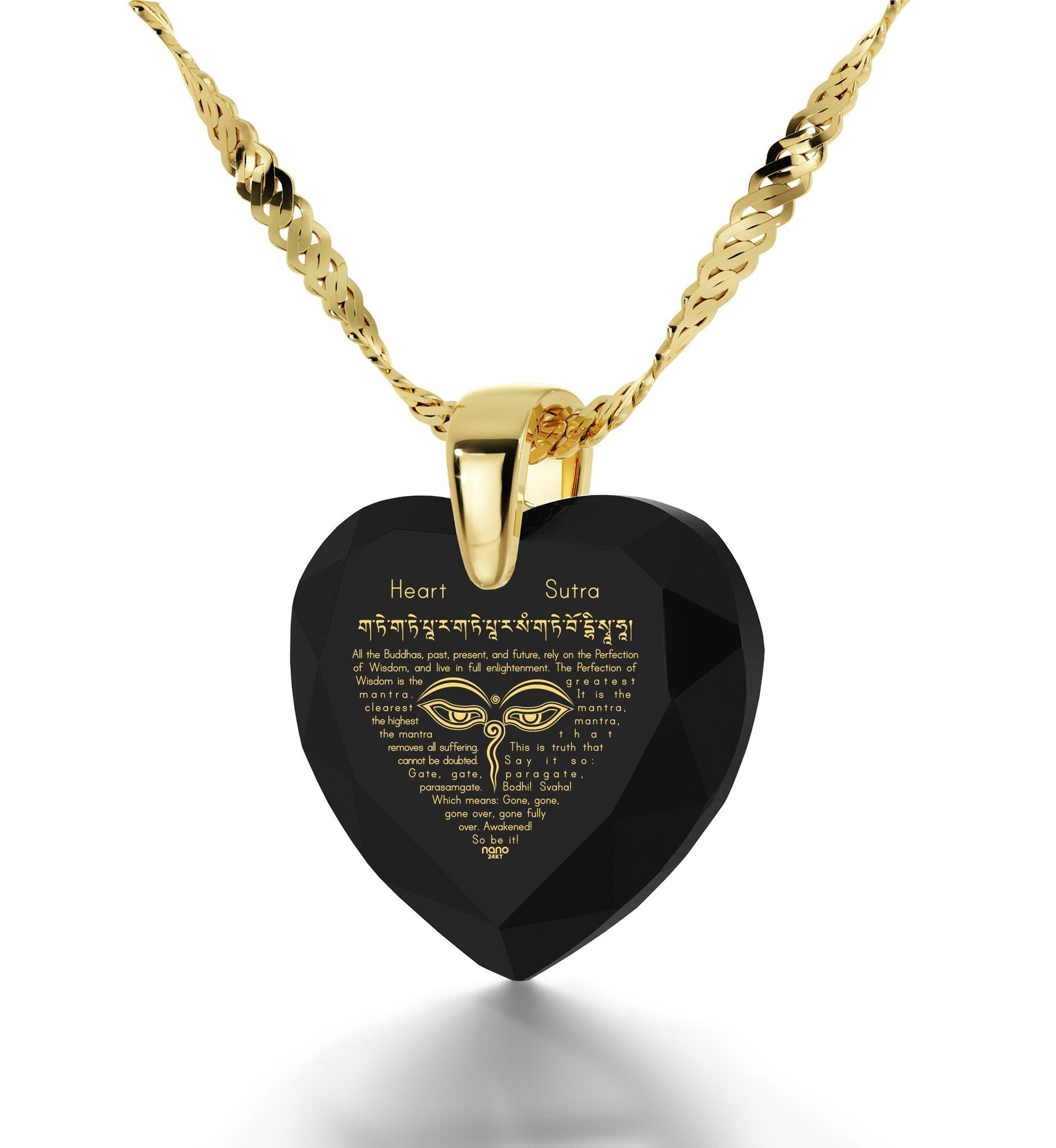 """Heart Sutra"", 14k Gold Necklace, Zirconia"