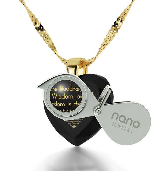 """Heart Sutra"", 14k Gold Necklace, Cubic Zirconia"