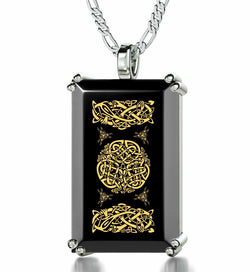 """Celtic Knot"", 925 Sterling Silver Necklace, Onyx"