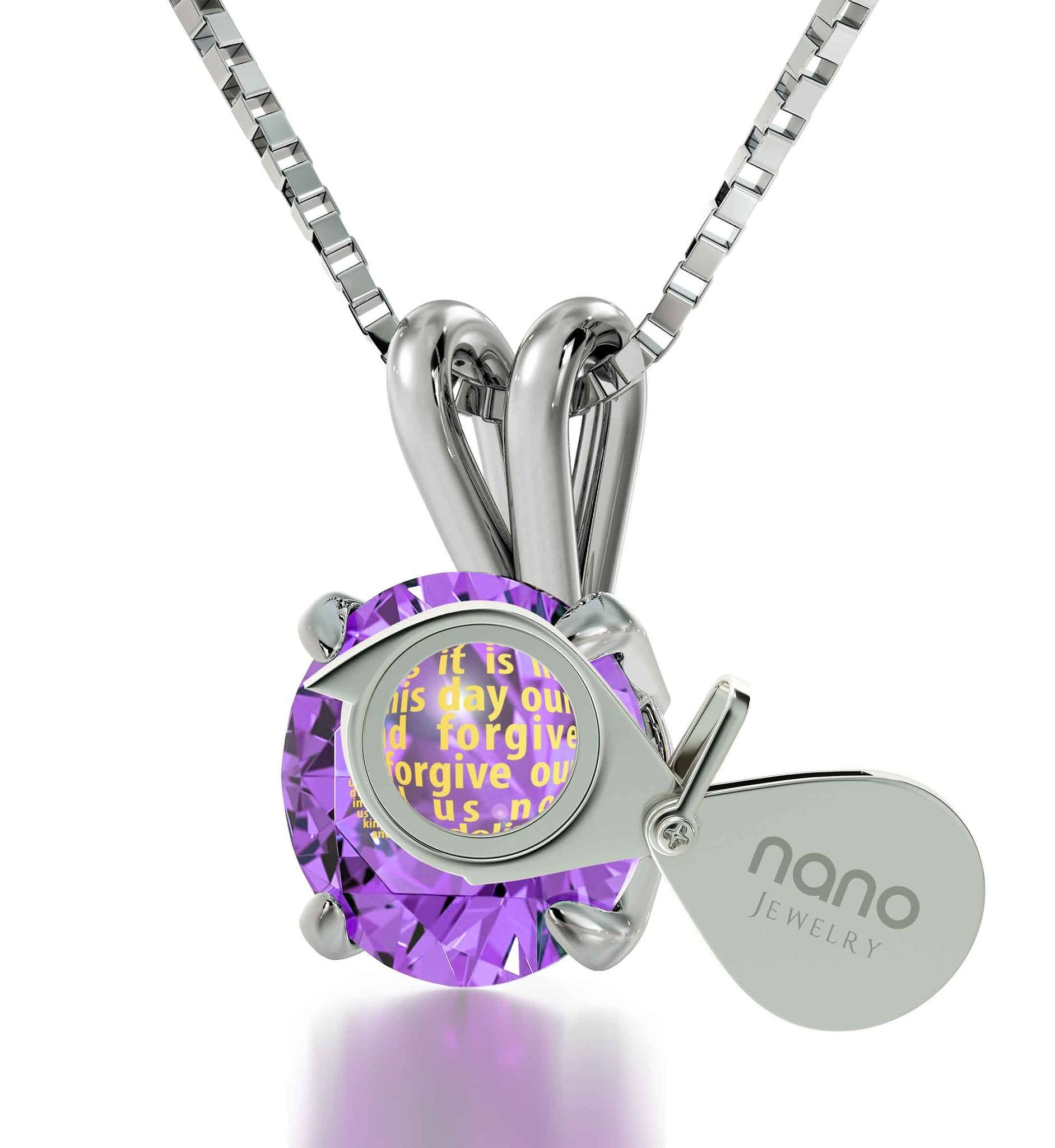 23 Psalm Kjv, Christmas Ideas for Mum, Best Gift for Wife, Purple Jewelry, Nano