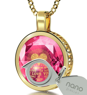 "Valentine's Day Jewelry Ideas: ""I Love You"" in All Languages - Round - Silver Gold Plated - Nano Jewelry"