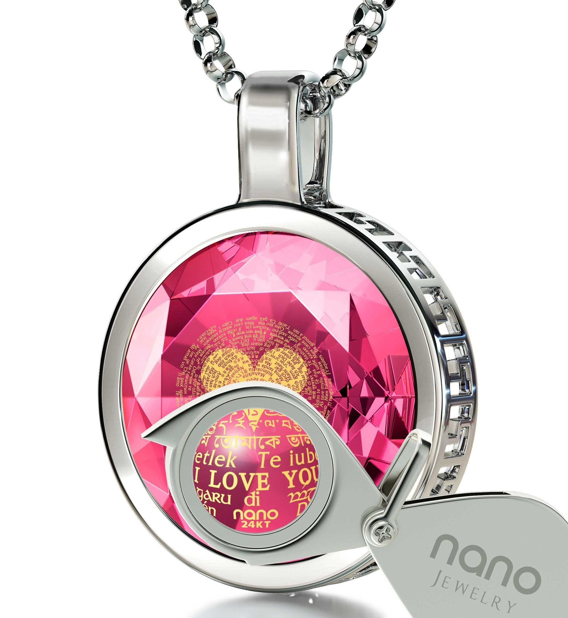"Valentines for Her: ""I Love You"" in 120 Languages - Round - Nano Jewelry"