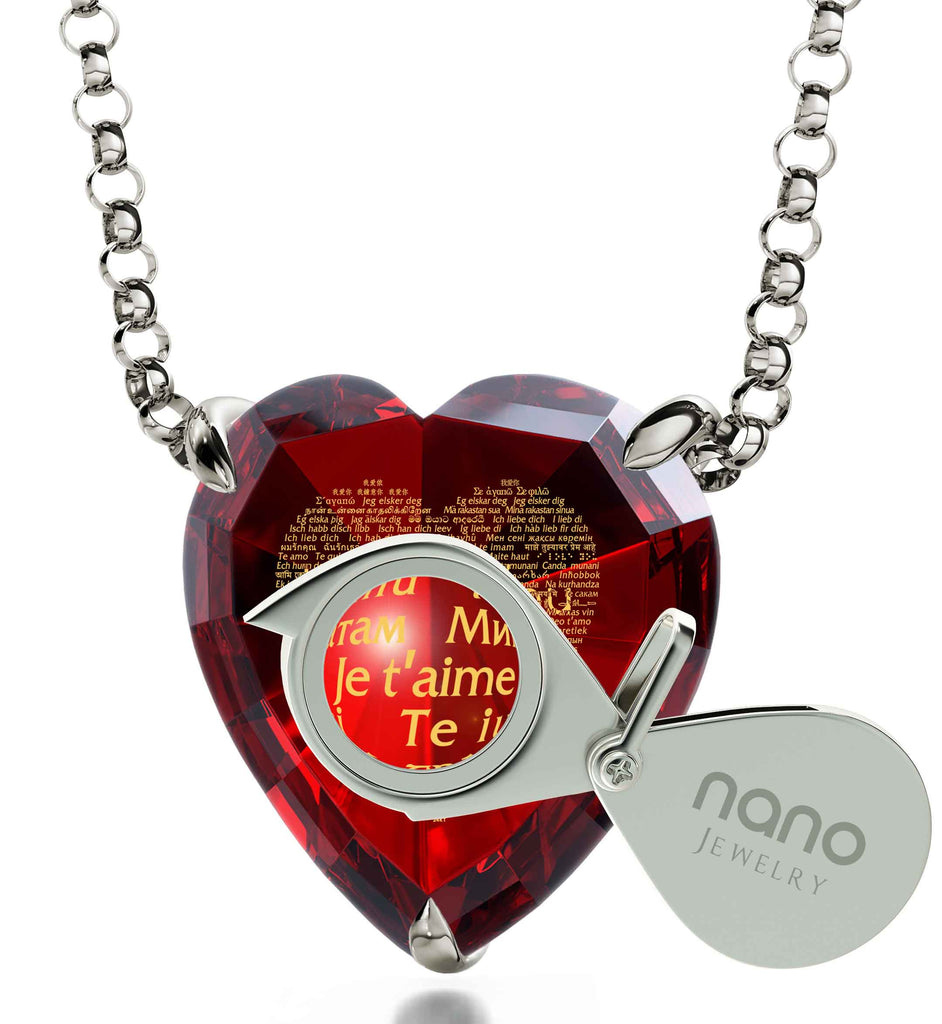 "Special Gift for a Girlfriend: ""I Love You"" in All Languages - Heart - Nano Jewelry"