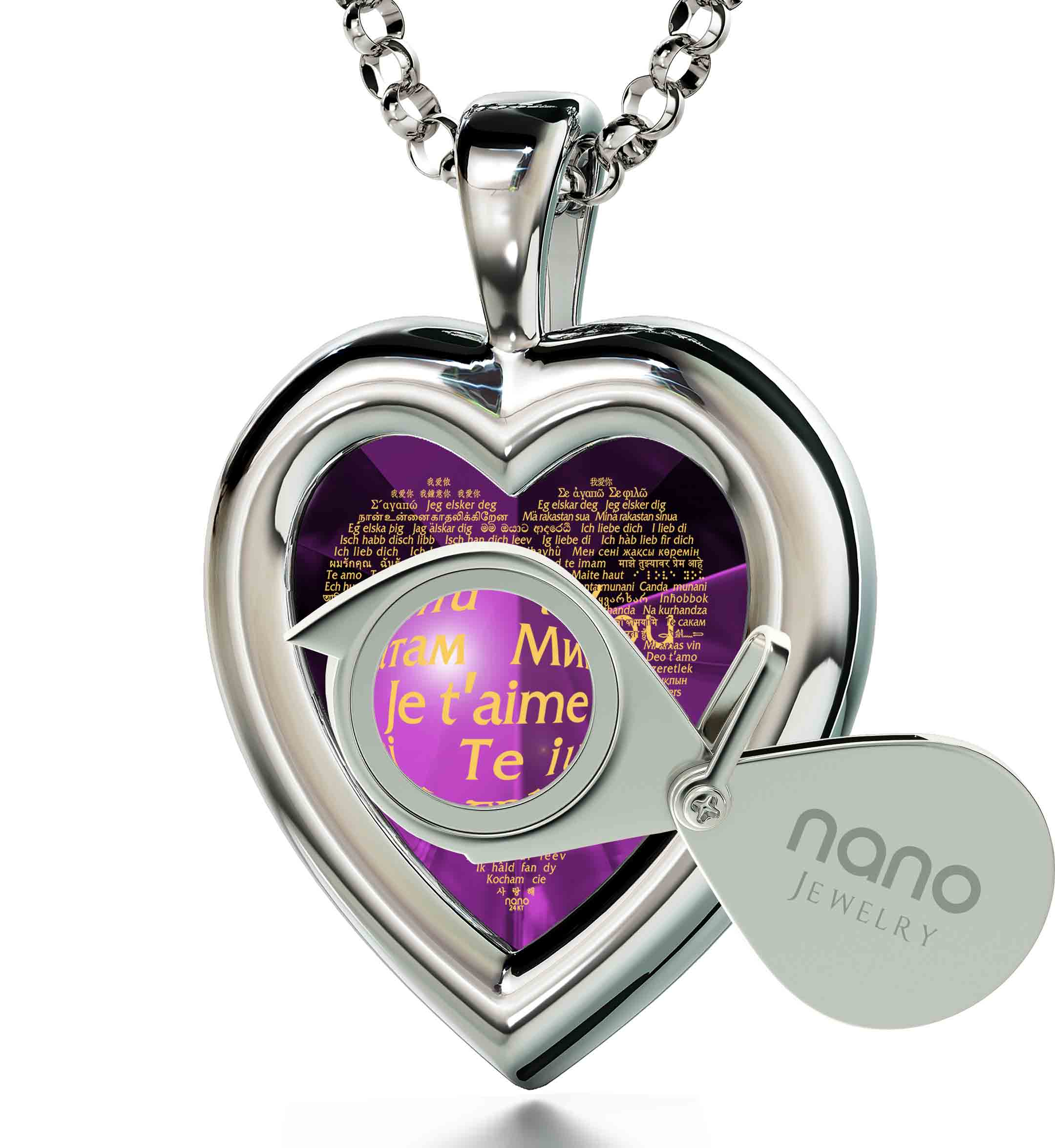 "I Love My Wife Necklace: ""I Love You"" in 120 Languages  - Silver 925 - Heart Plain - Nano Jewelry"