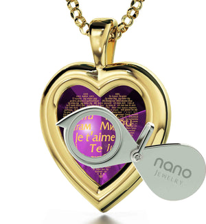 "Best Gift For Wife On Birthday: ""I Love You"" in 120 Languages  - 14K Gold - Plain Heart - Nano Jewelry"