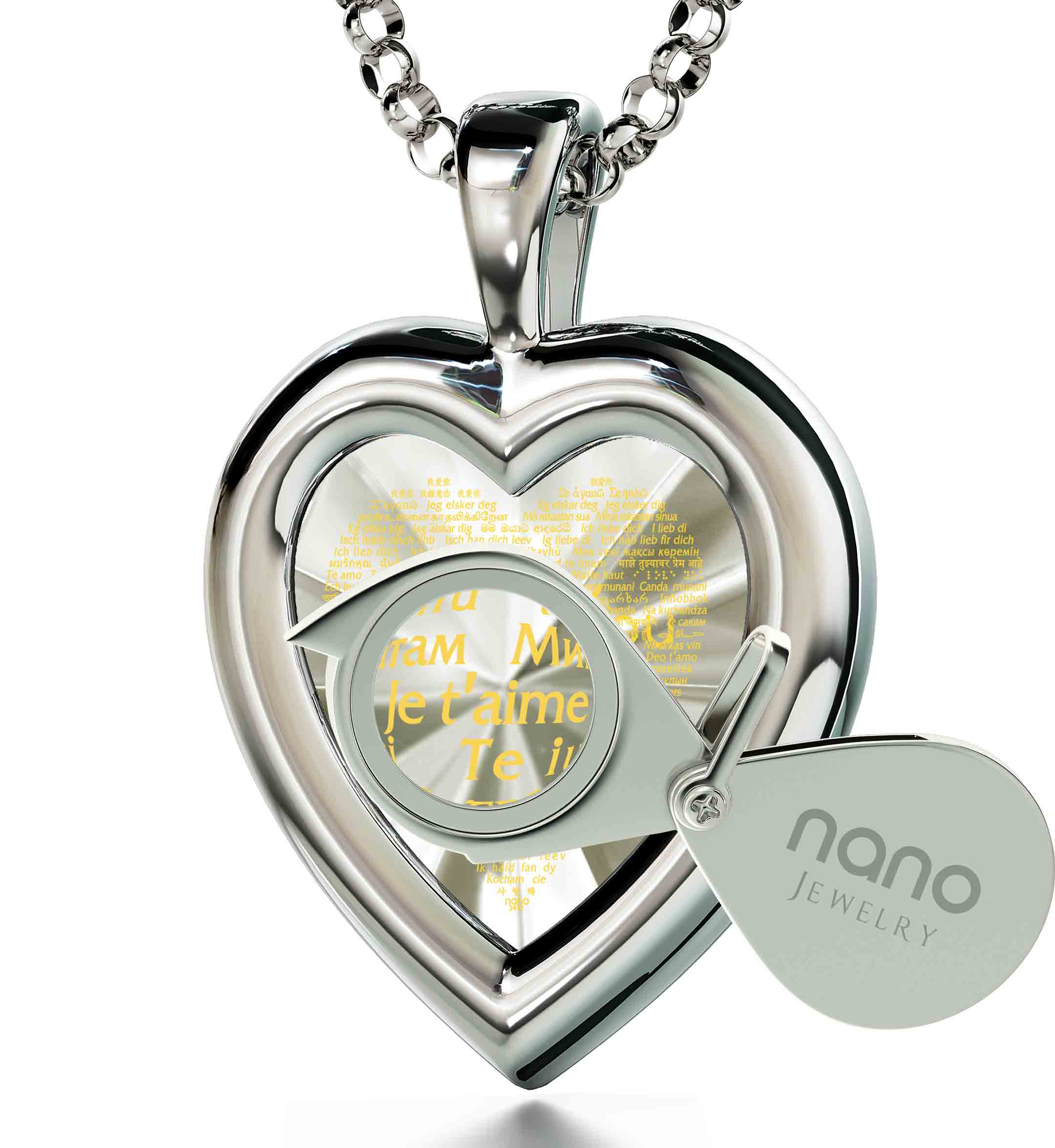 "Best Gifts For Wife On Anniversary: ""I Love You"" in 120 Languages  - 14K White Gold - Plain Heart - Nano Jewelry"