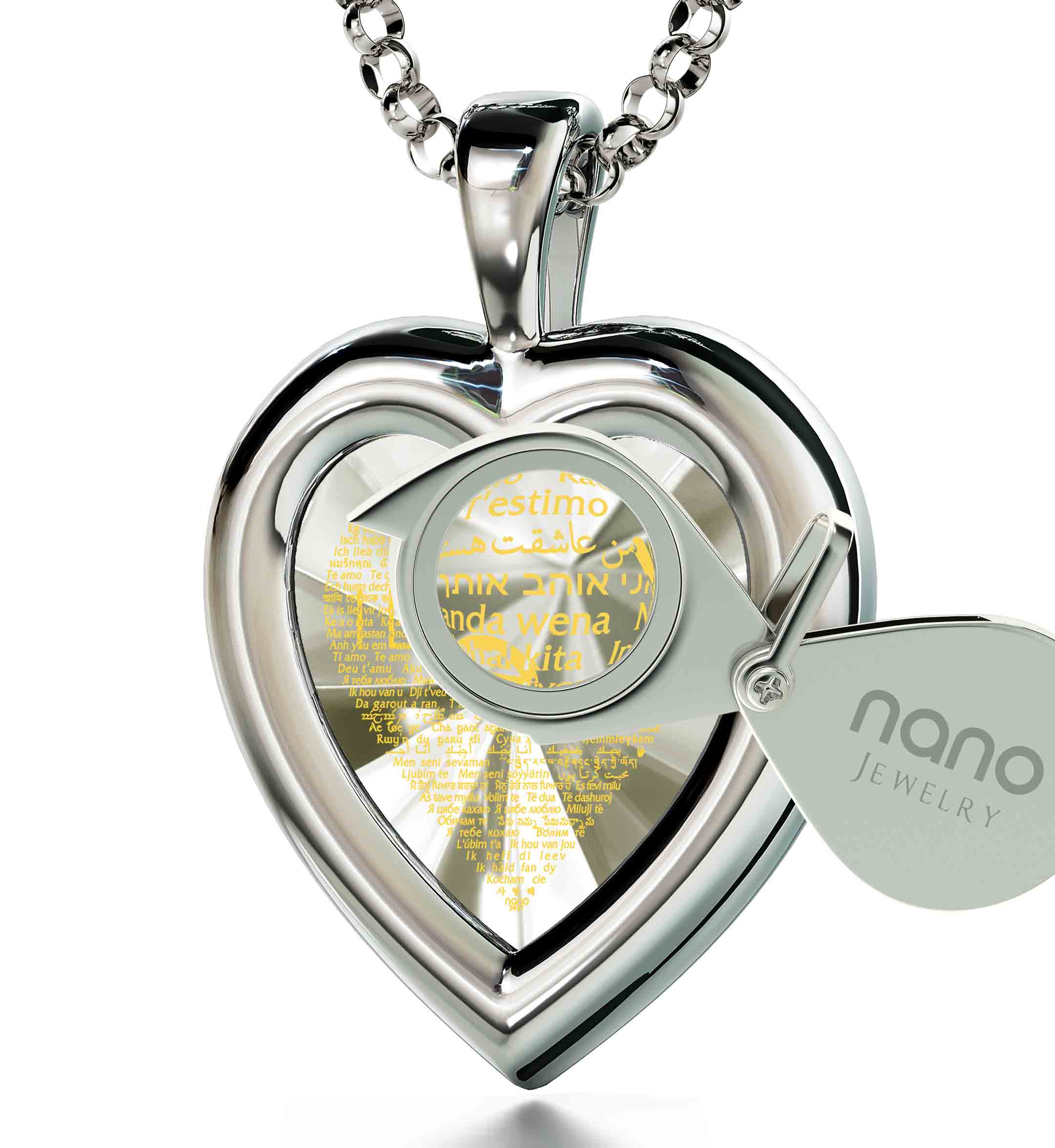 "Romantic Birthday Gifts For Wife: ""I Love You"" in 120 Languages  - Silver 925 - Heart Plain - Nano Jewelry"