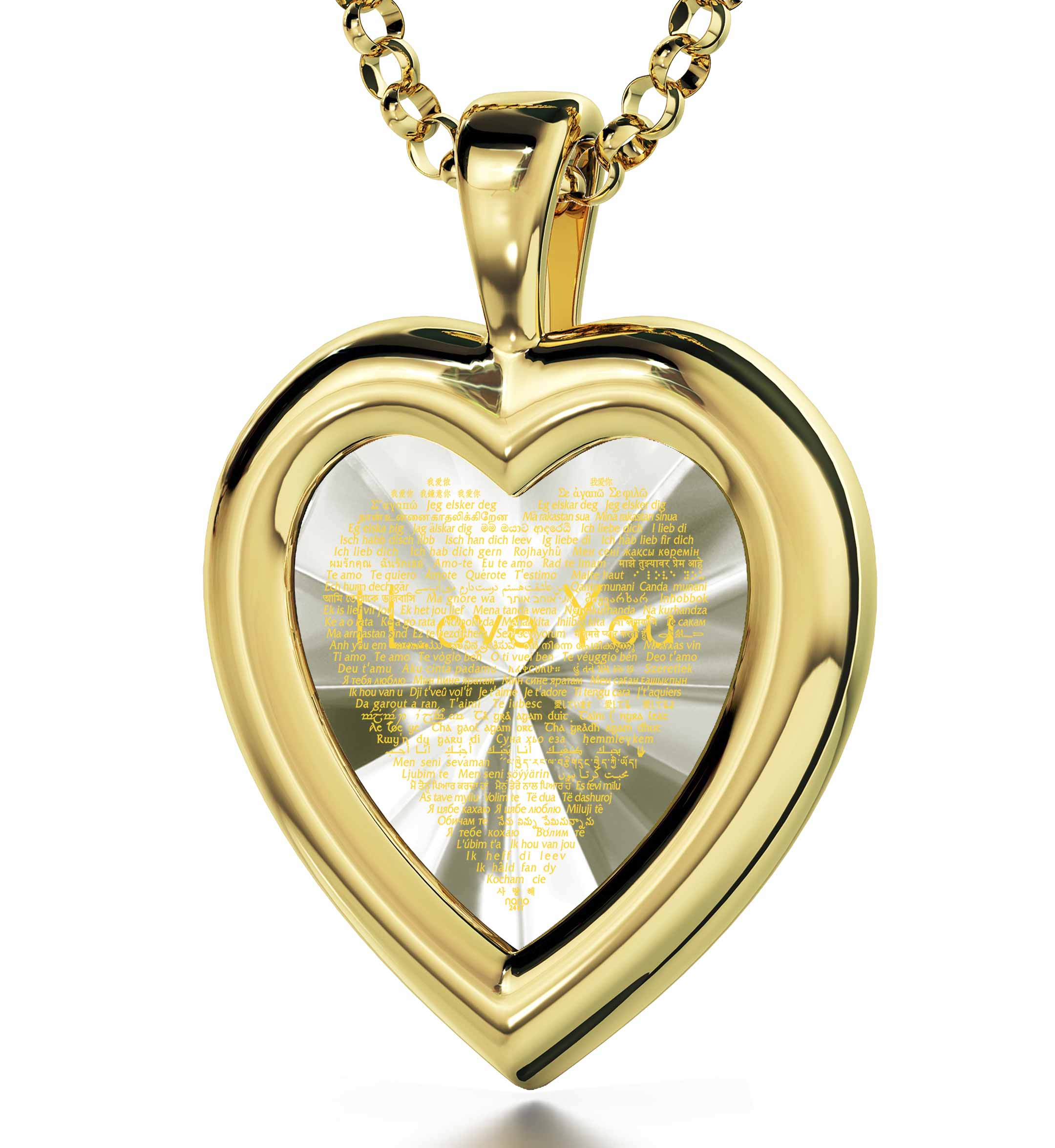 "Jewelry For The Wife: ""I Love You"" in 120 Languages  - Silver Gold Plated - Heart Plain - Nano Jewelry"