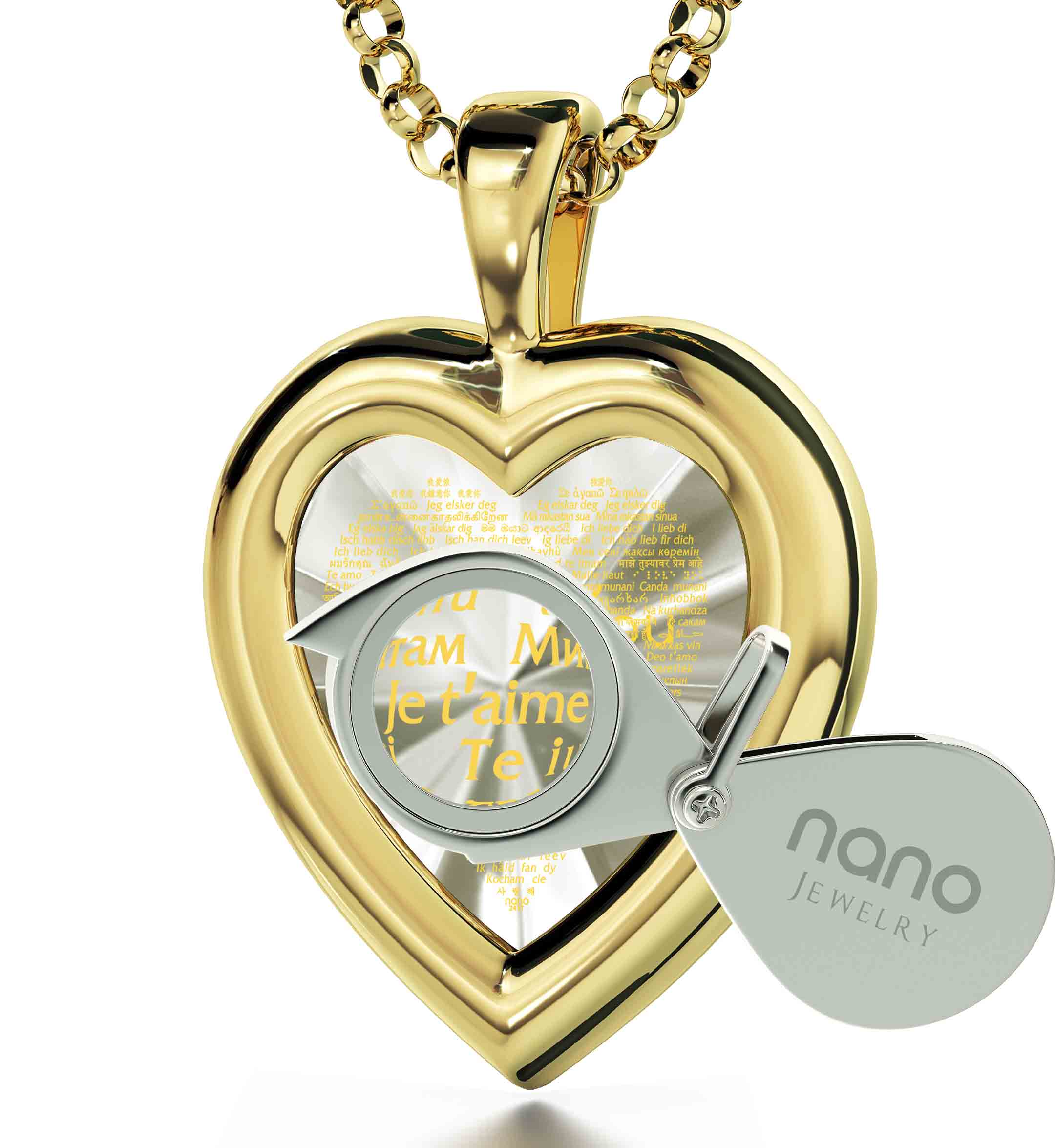 "Best Birthday Gift For Wife: ""I Love You"" in 120 Languages  - 14K Gold - Plain Heart - Nano Jewelry"