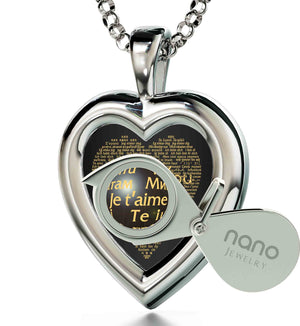 "Romantic Birthday Ideas Wife: ""I Love You"" in 120 Languages  - Silver 925 - Heart Plain - Nano Jewelry"