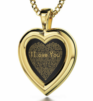 "Best Gift For Wife On Her Birthday: ""I Love You"" in 120 Languages  - 14K Gold - Plain Heart - Nano Jewelry"