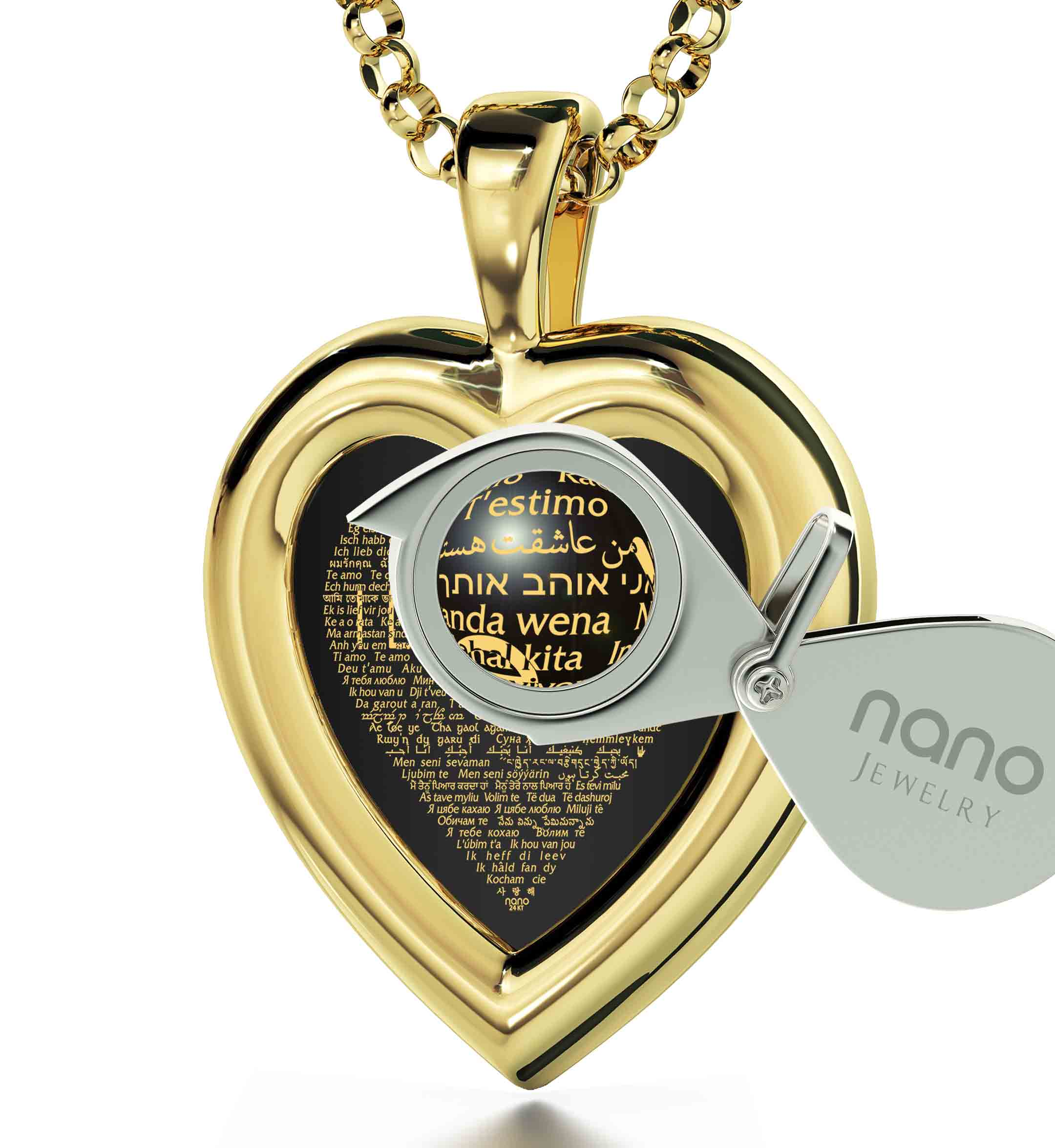 "Best 50Th Birthday Gift For Wife: ""I Love You"" in 120 Languages  - 14K Gold - Plain Heart - Nano Jewelry"