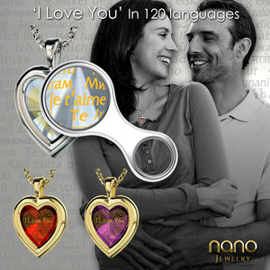"Romantic Gifts For My Wife: ""I Love You"" in 120 Languages  - Silver 925 - Heart Plain - Nano Jewelry"