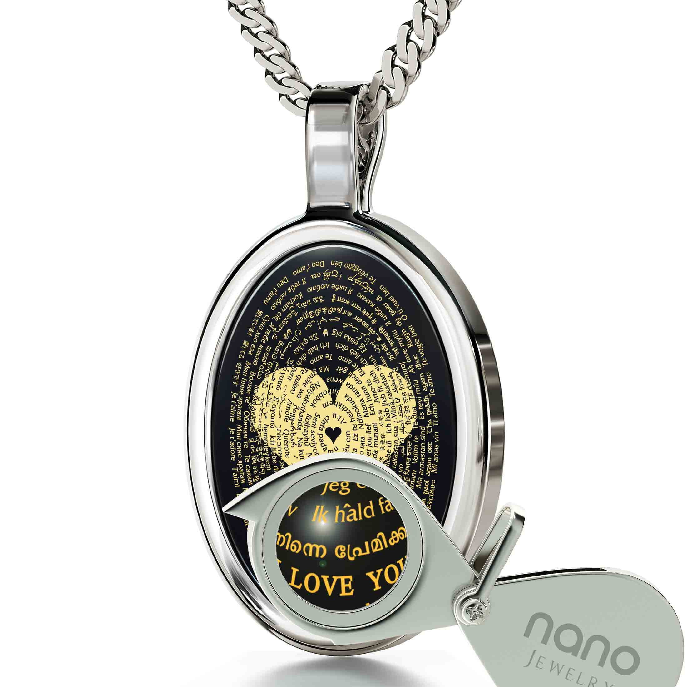 "Romantic Jewelry for Her: ""I Love You"" in All Languages - Oval -  - Nano Jewelry"