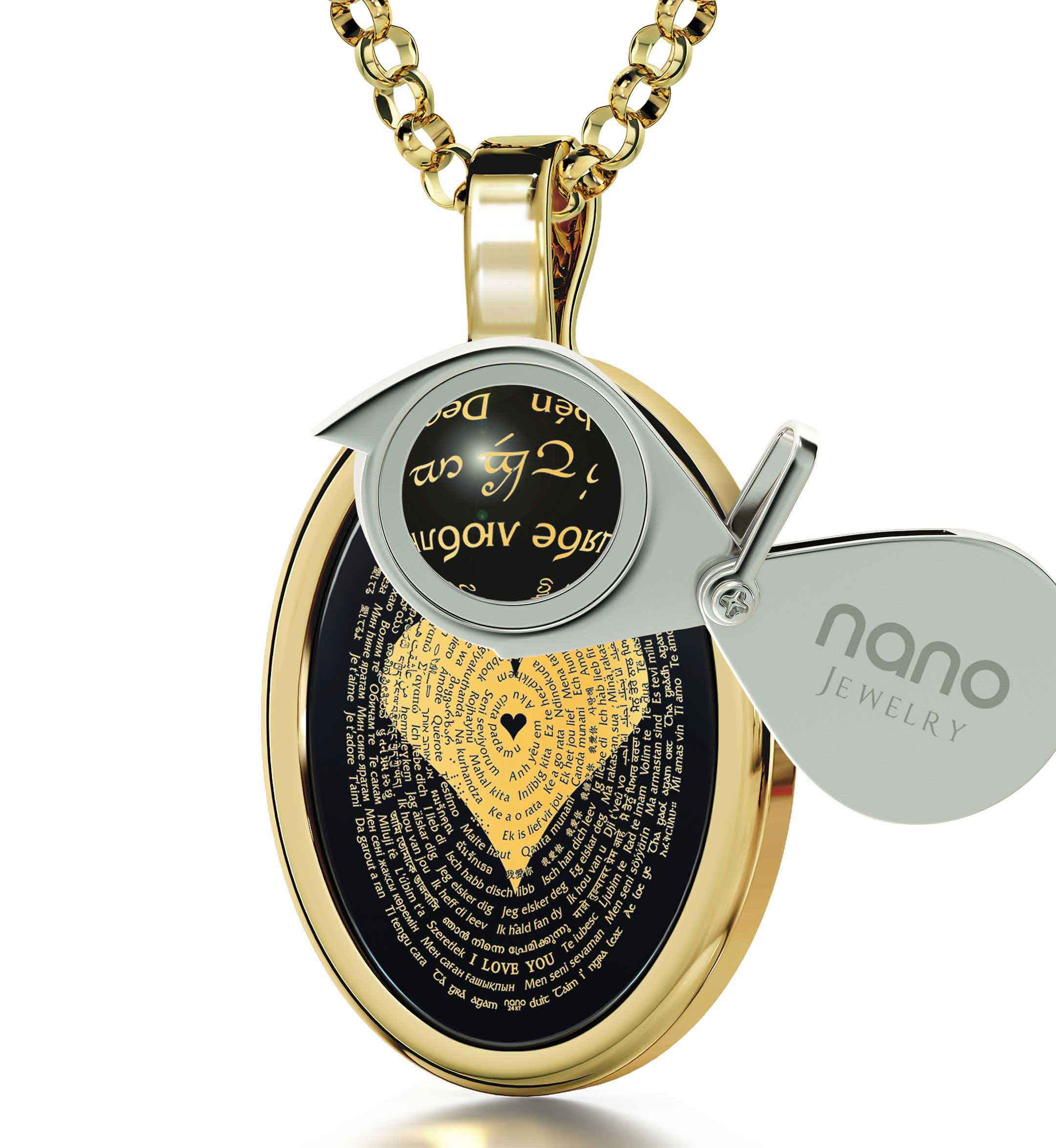 "Birthday Gift For Girlfriend: ""I Love You"" in All Languages - Oval - Nano Jewelry"