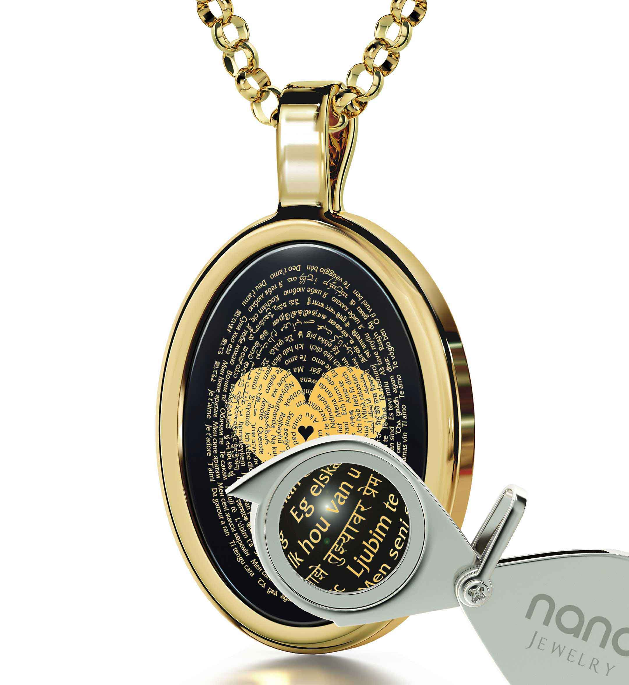 "Best Gift For Girlfriend: ""I Love You"" in All Languages - Oval - Nano Jewelry"