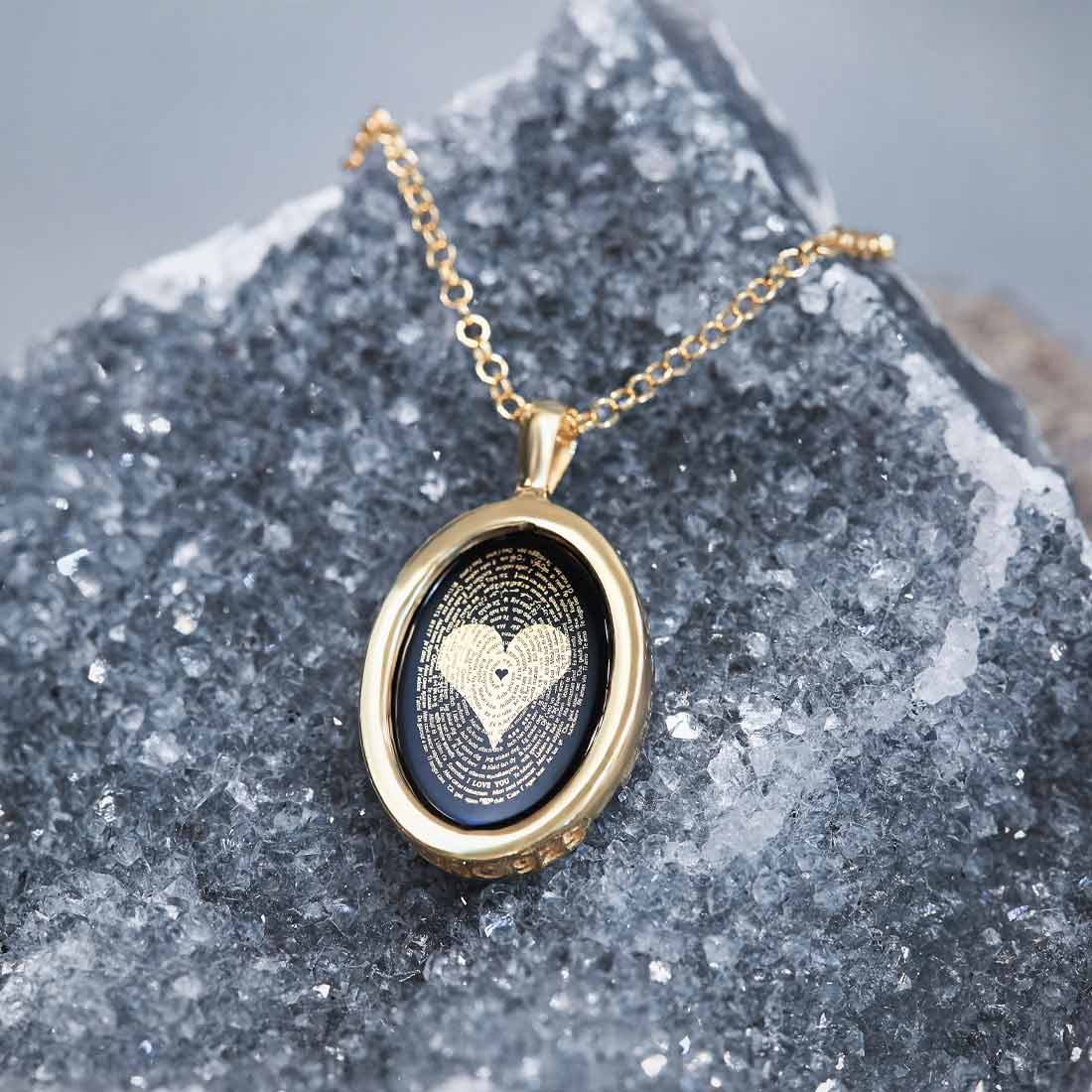 "Amazing Gifts For Her: ""I Love You"" in 120 Languages - Round Plain - 14K Gold - Nano Jewelry"
