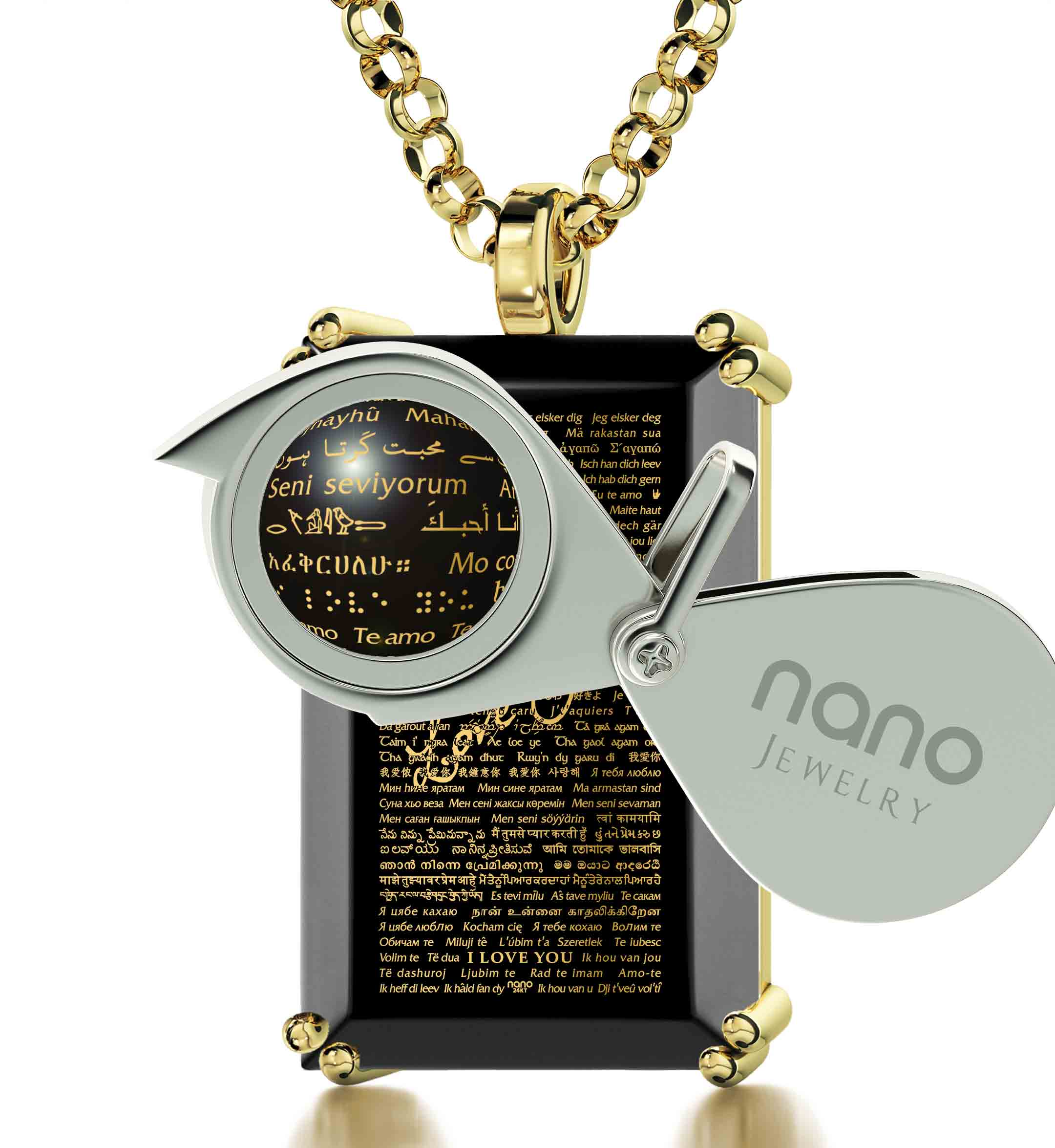 "Valentine's Day Gifts for Him Jewelry - ""I Love You"" Necklace in All Languages - Nano Jewelry"