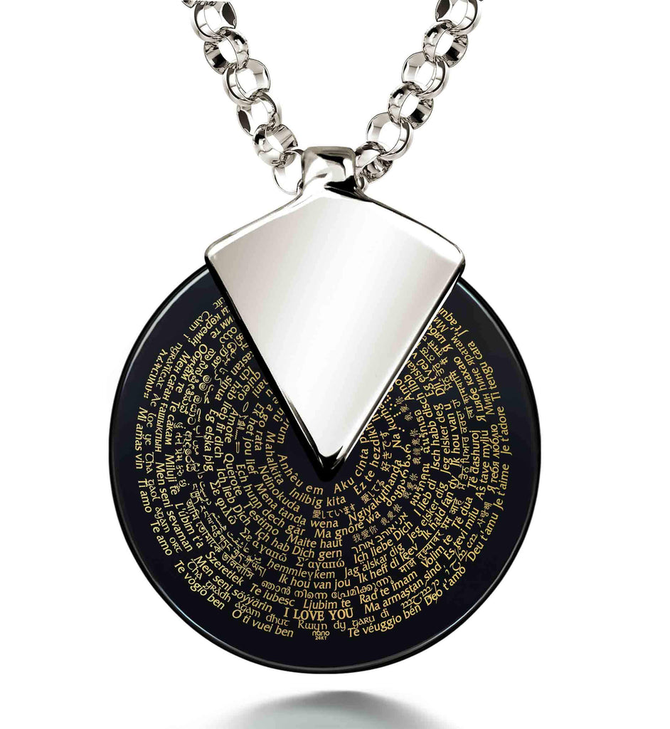 Unique Valentines Gifts for Her - Love Necklaces in 120 Languages - Nano Jewelry