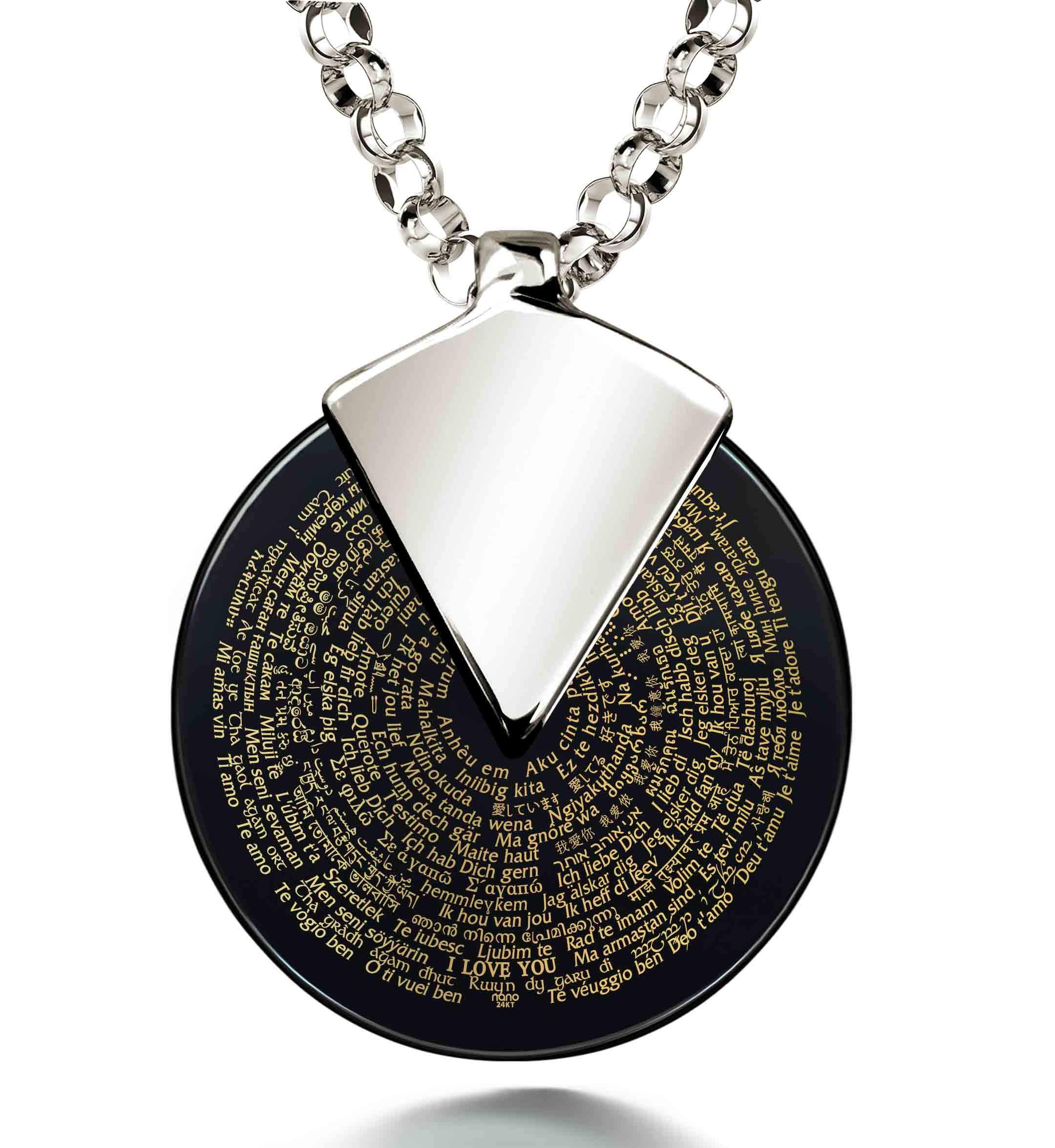 Awesome Valentines Day Gifts for Her - Love Necklaces in 120 Languages - Nano Jewelry