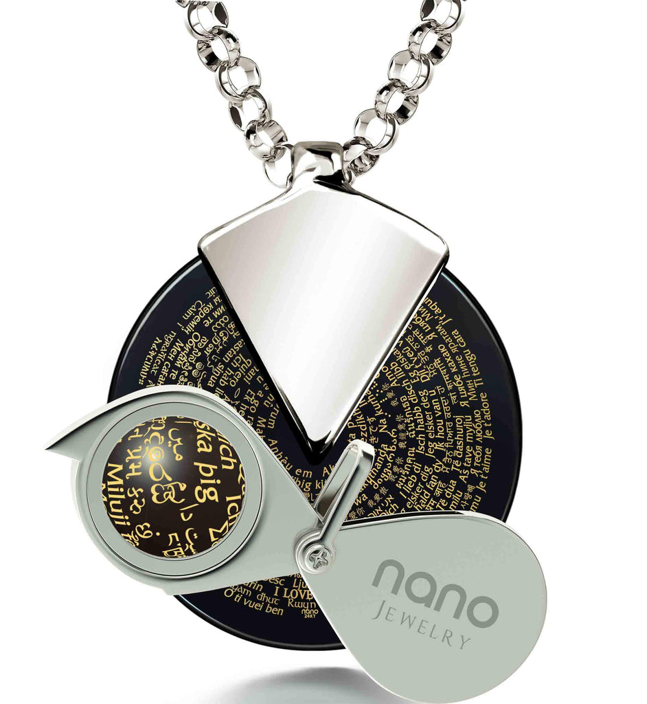 "V Day Gifts for Her - ""I Love You"" Necklace in All Languages - Nano Jewelry"