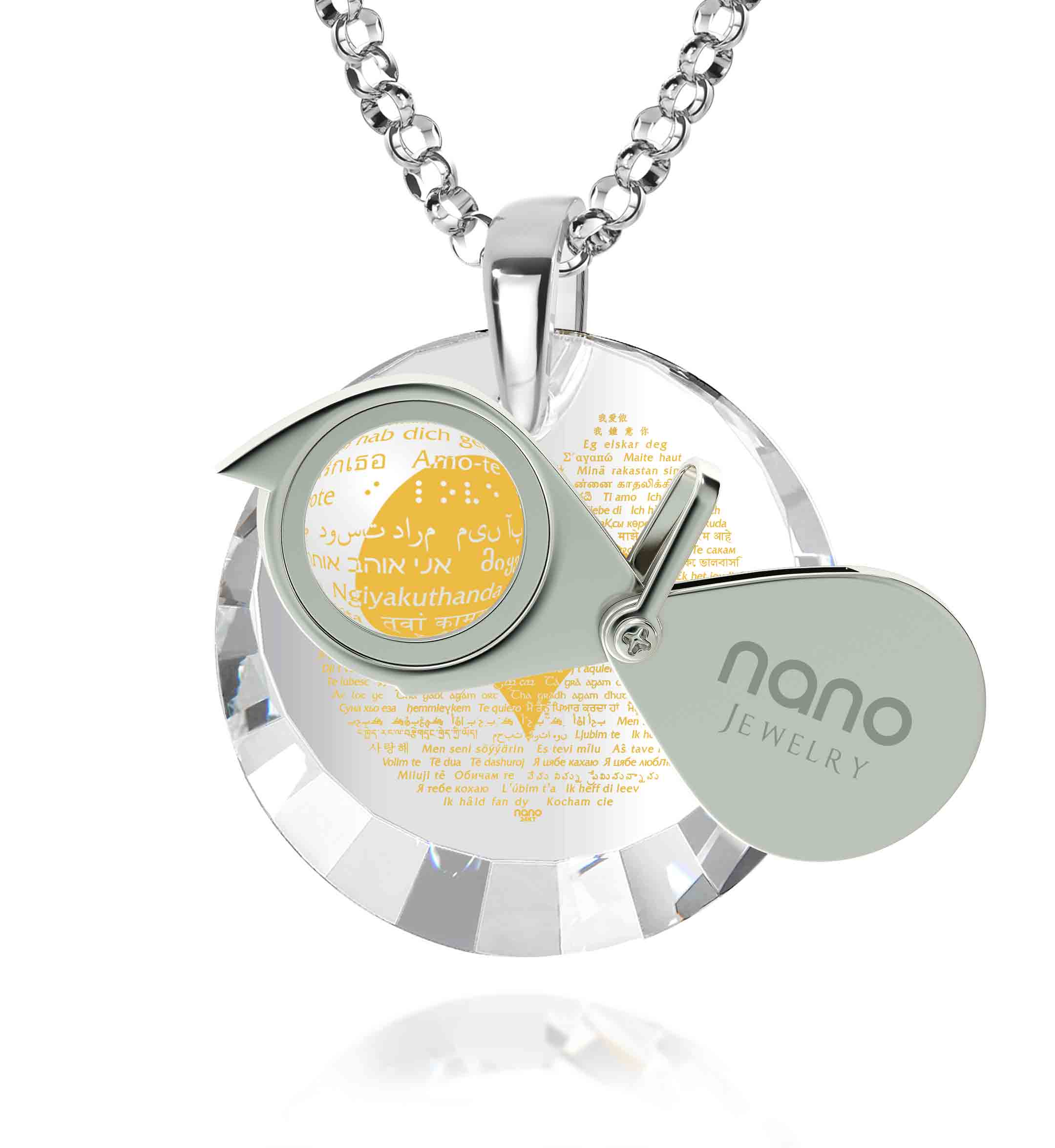 "Romantic Presents for Her: ""I Love You"" in All Languages - Oval - Nano Jewelry"
