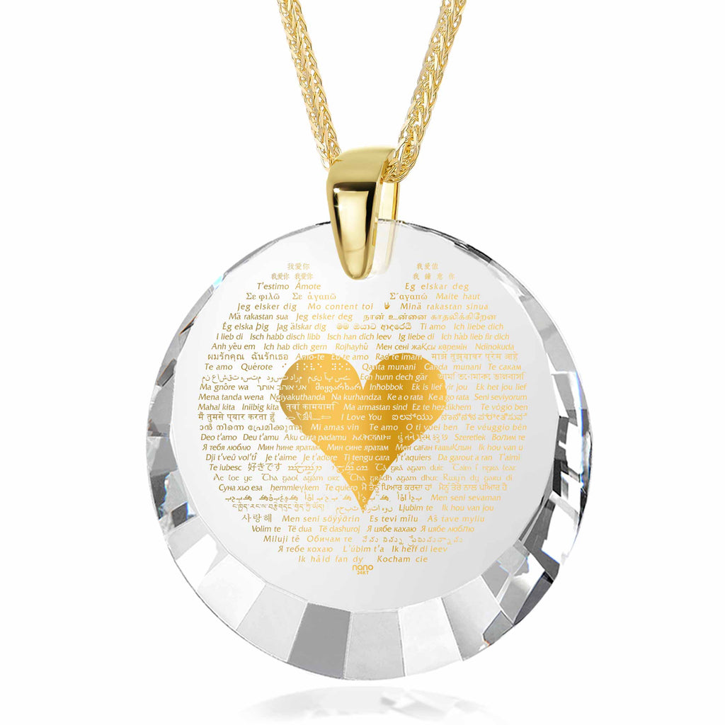 "Valentine Day Gifts for Girlfriend: ""I Love You"" in All Languages - Round Facets - Nano Jewelry"