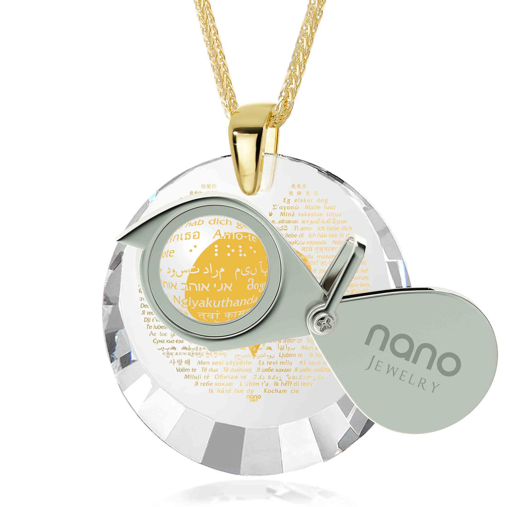 "Valentine Gift Ideas for Her: ""I Love You"" in 120 Languages - Round Facets - Nano Jewelry"