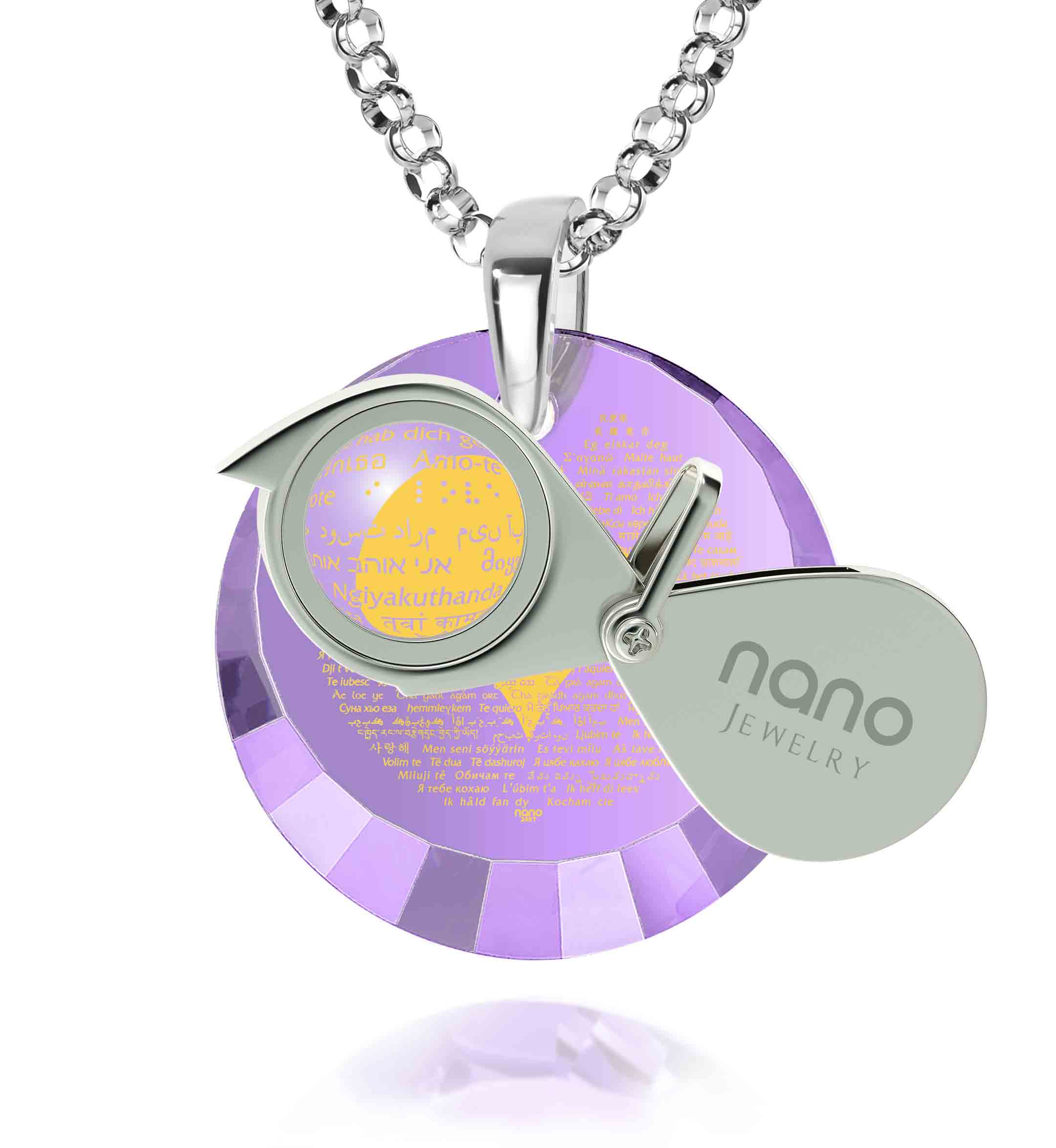 "Romantic Birthday Gifts for Her: ""I Love You"" in All Languages - Oval - Nano Jewelry"