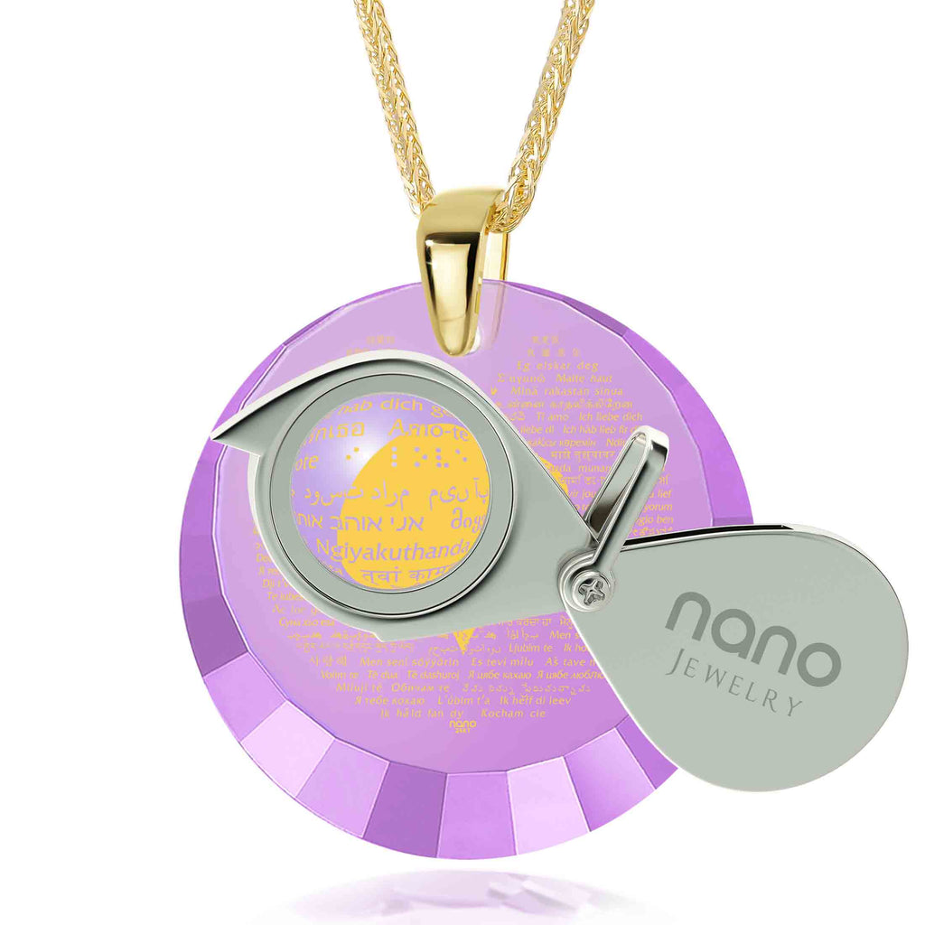 "Valentines Day Gifts for Girlfriend: ""I Love You"" in All Languages - Round Facets - Nano Jewelry"