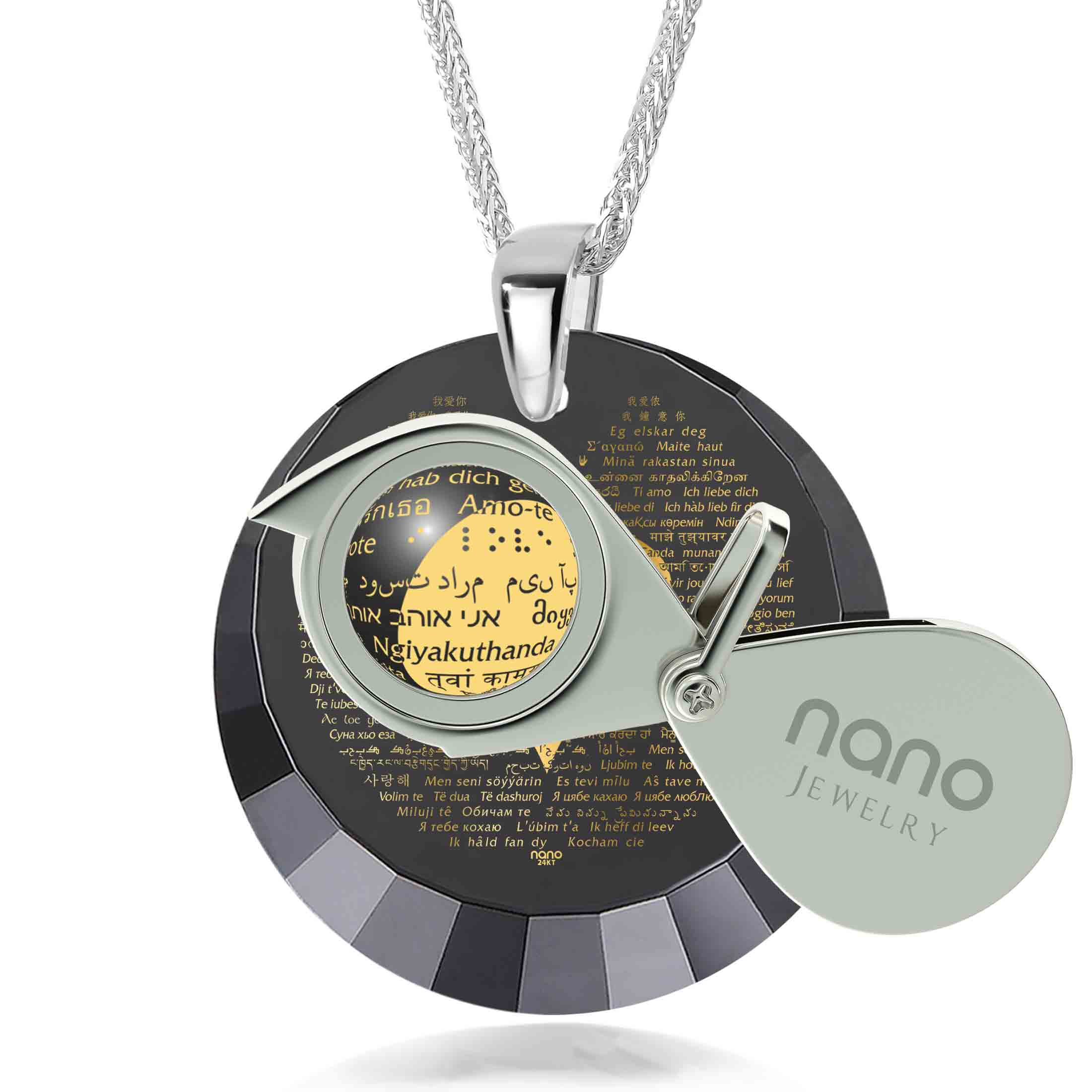 "Awesome Valentines Day Ideas for Her: ""I Love You"" in 120 Languages - Round Facets - Nano Jewelry"