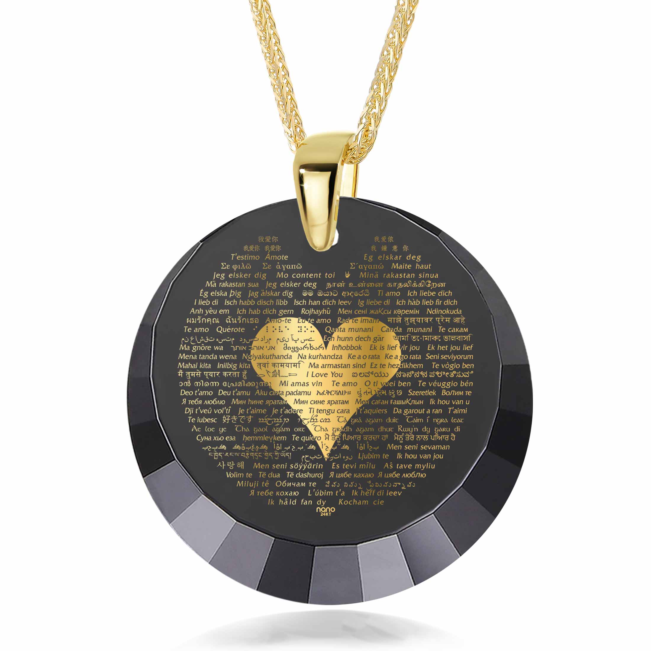 "Valentine's Day Necklaces for Girlfriend: ""I Love You"" in All Languages - Round Facets - Nano Jewelry"