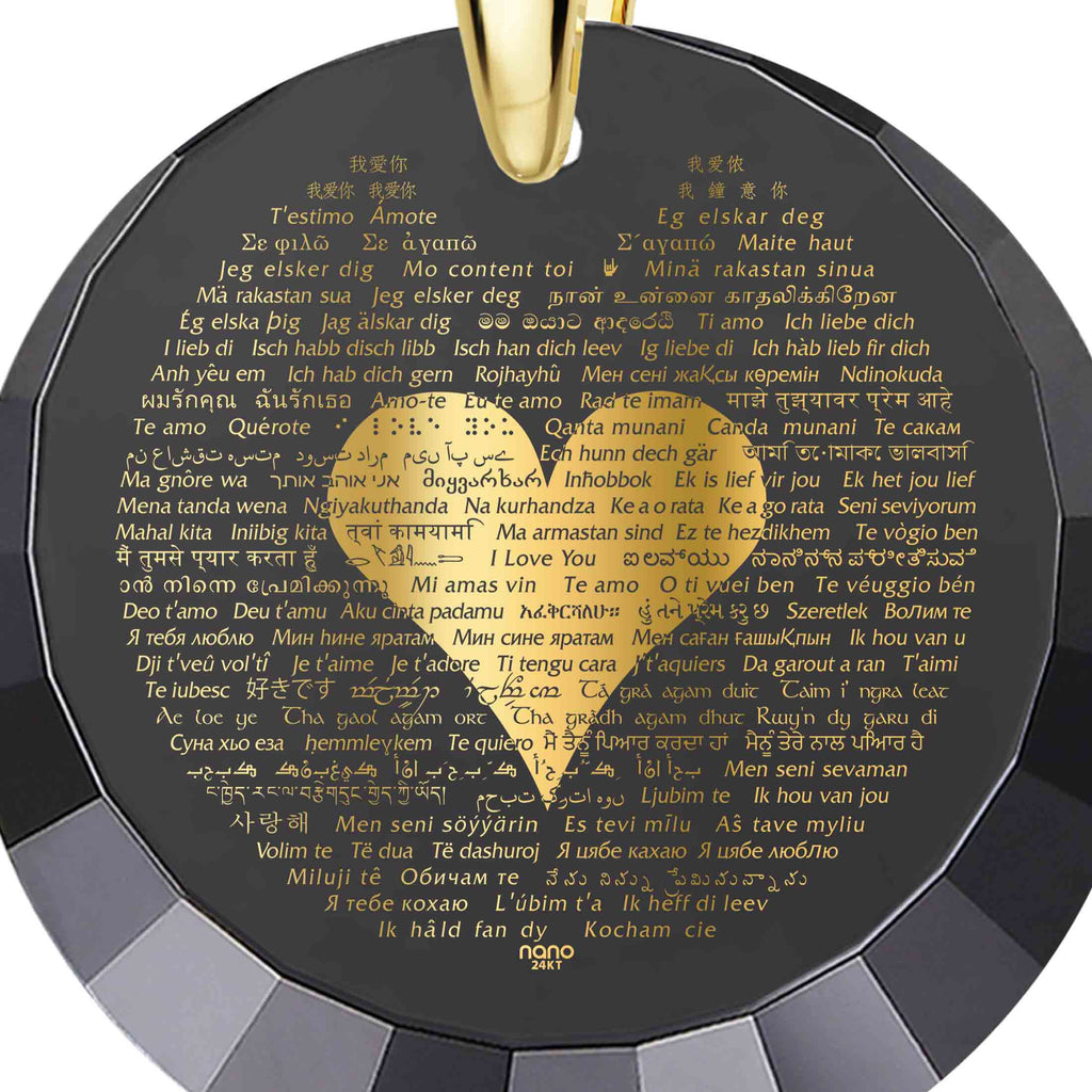 "Necklace for Girlfriend Valentines Day: ""I Love You"" in All Languages - Round Facets - Nano Jewelry"