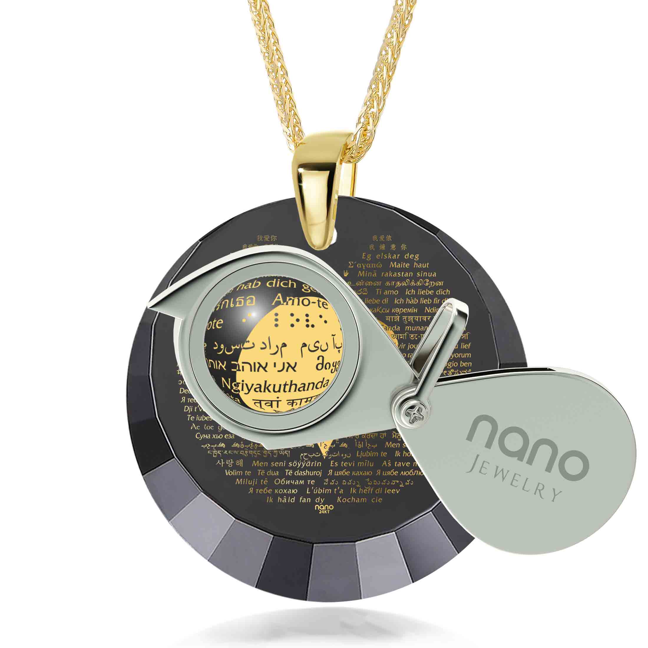 "Valentine Necklace for Her: ""I Love You"" in 120 Languages - Round Facets - Nano Jewelry"