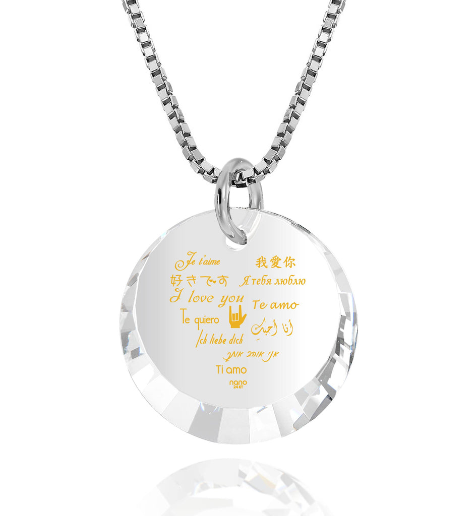 "Valentine'S Day Presents for Her: ""I Love You"" in 12 Languages - Small Round Facets - Nano Jewelry"