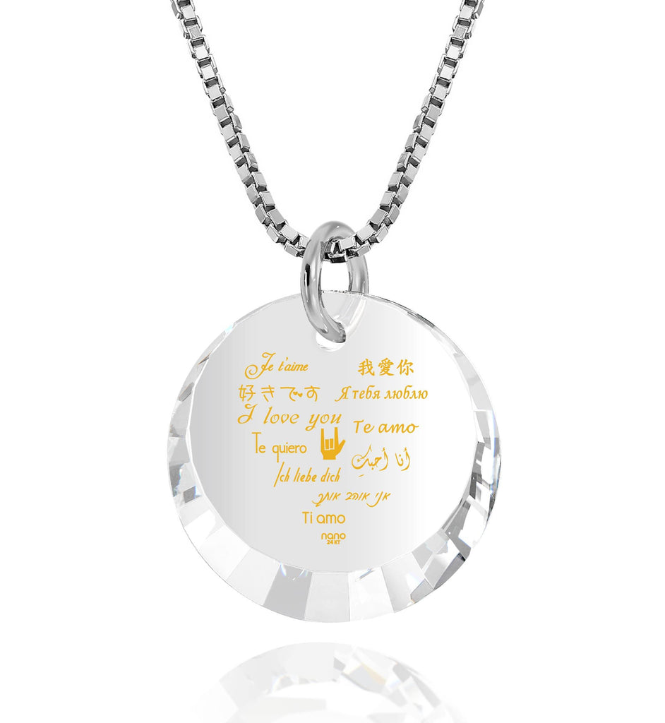 "Girlfriend Gifts for Valentines Day: ""I Love You"" in 12 Languages - Small Round Facets - Nano Jewelry"