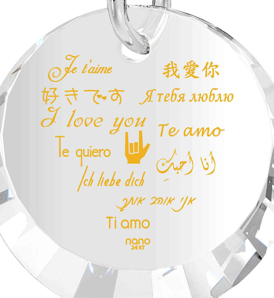 "Valentines Day Ideas for Her Creative: ""I Love You"" in 12 Languages - Small Round Facets - Nano Jewelry"
