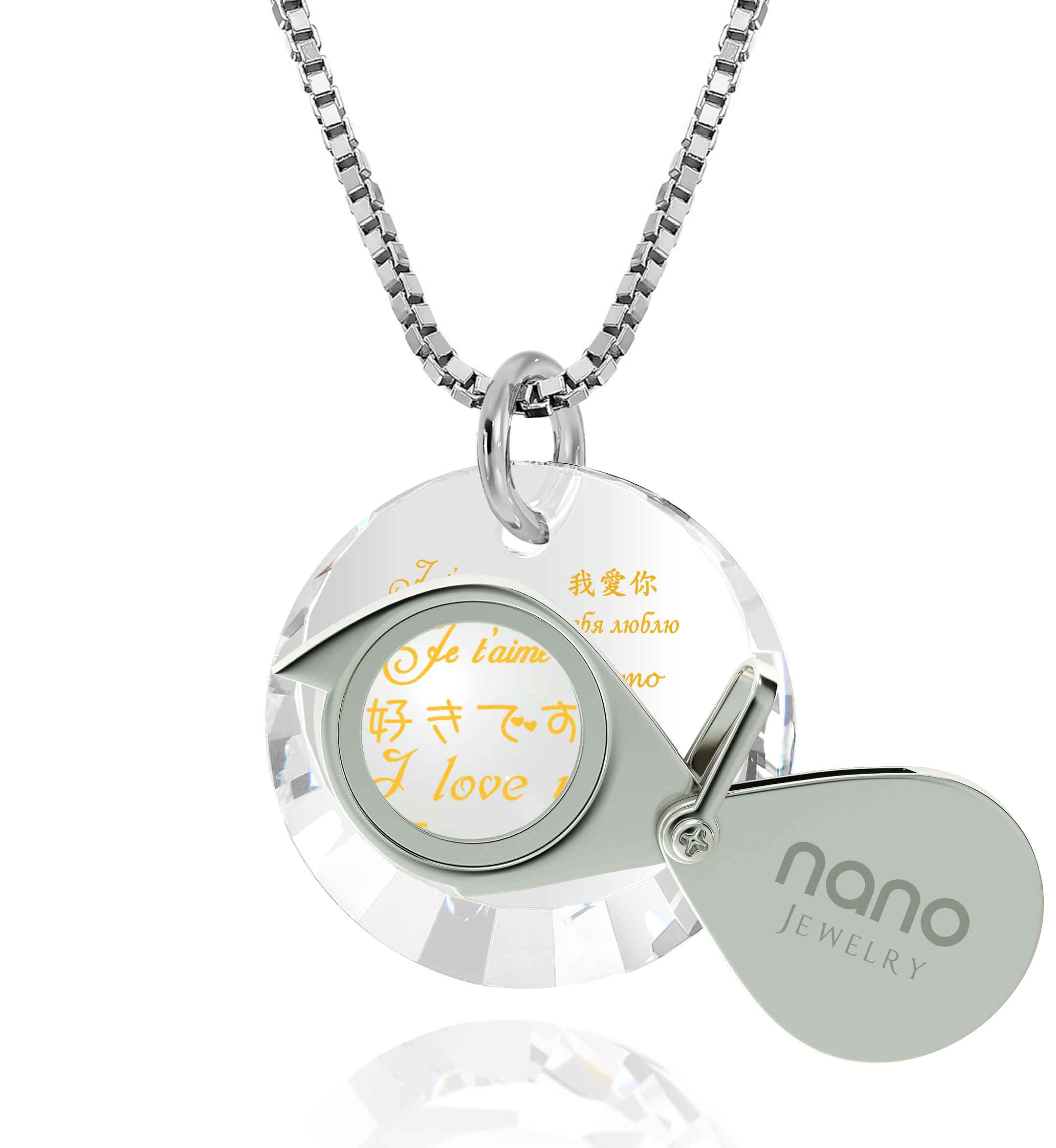 "Gifts for Her Valentines Day: ""I Love You"" in 12 Languages - Small Round Facets - Nano Jewelry"