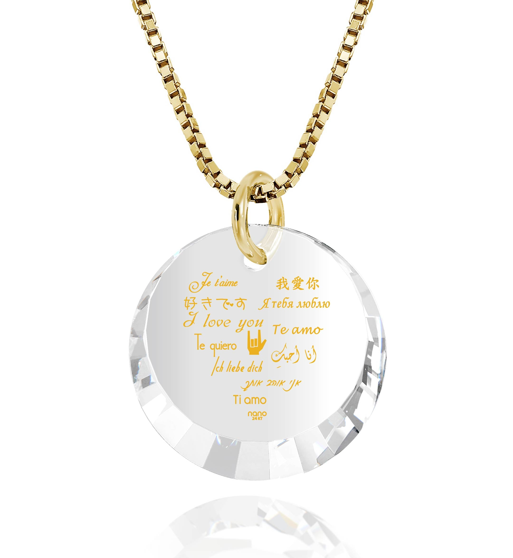"Valentine Necklace for Her: ""I Love You"" in 12 Languages - Small Round Facets - Nano Jewelry"