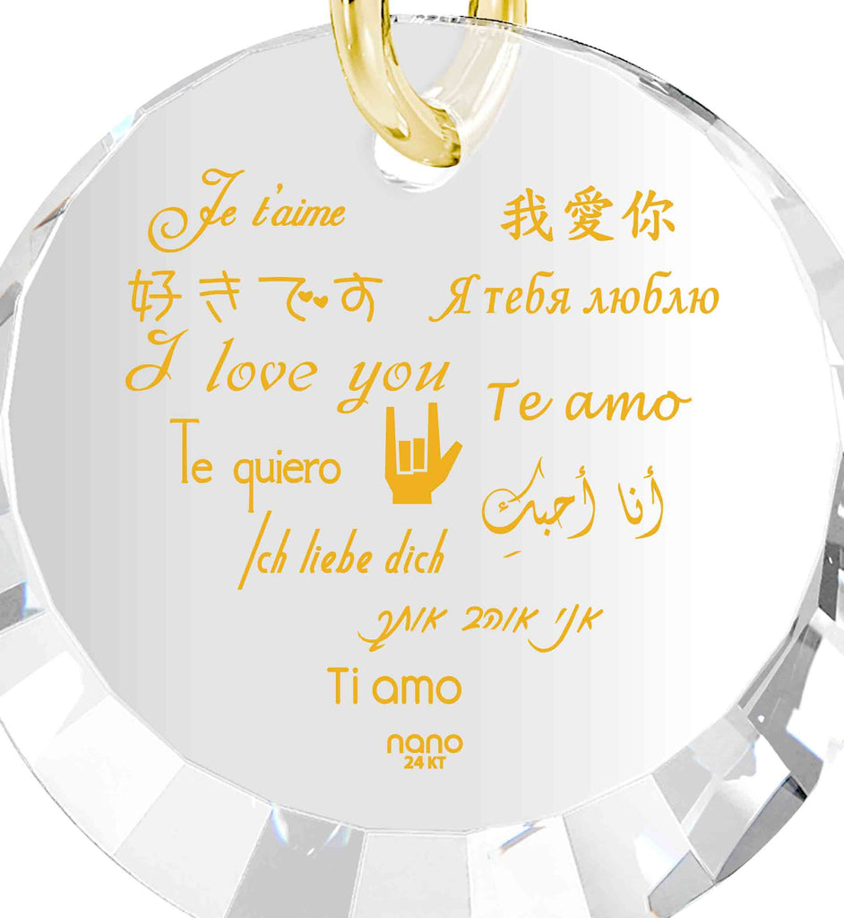 "V Day Gifts for Her: ""I Love You"" in 12 Languages - Small Round Facets - Nano Jewelry"