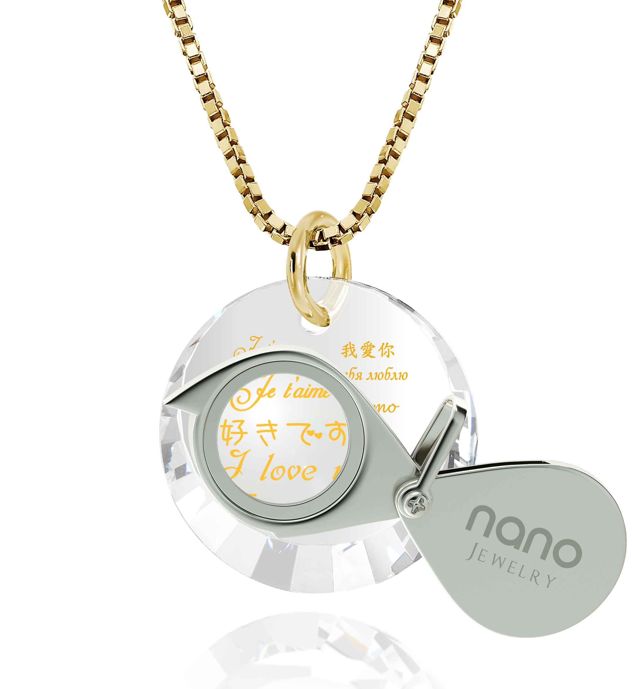 "Perfect Valentines Gift for Her: ""I Love You"" in 12 Languages - Small Round Facets - Nano Jewelry"