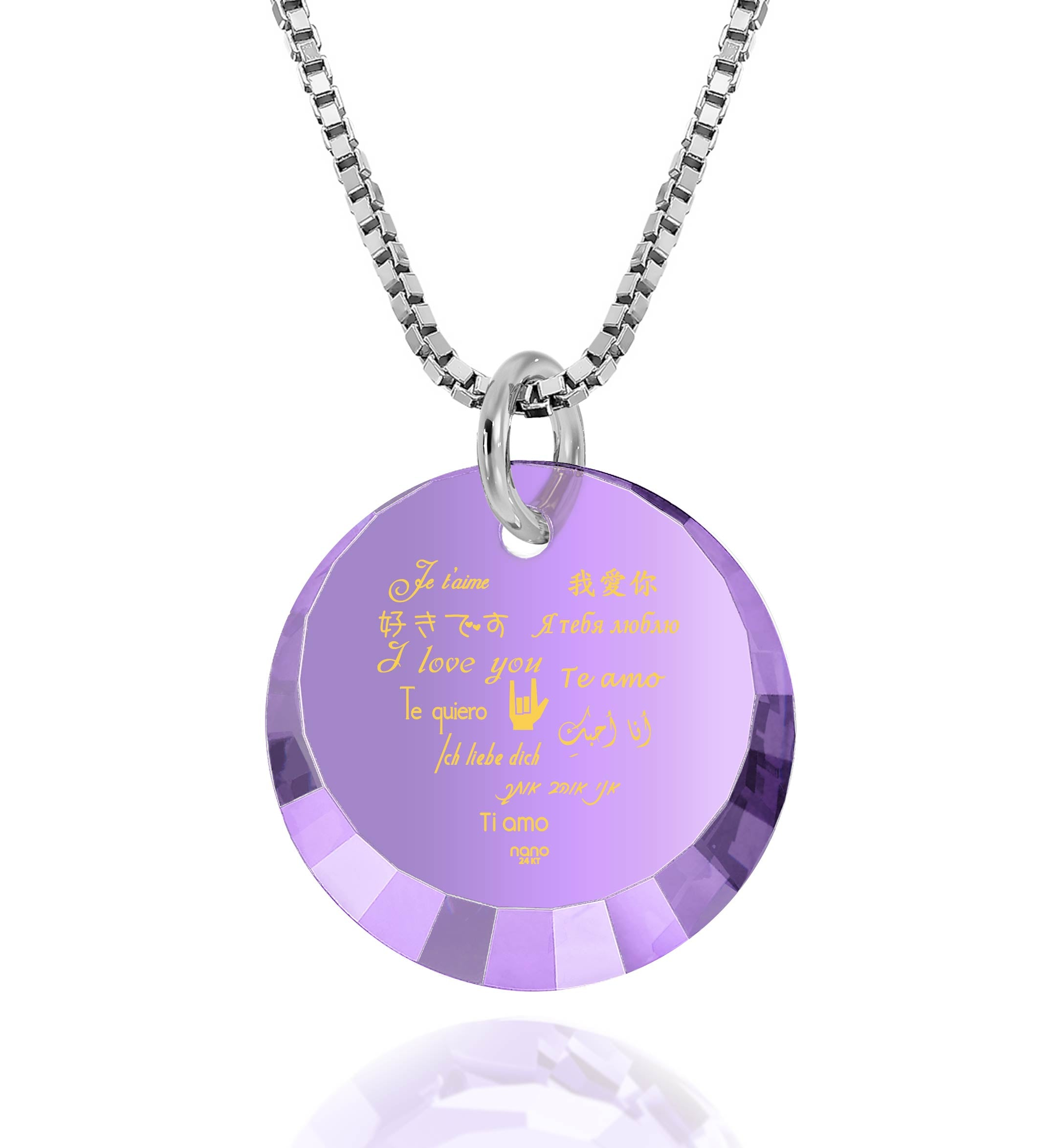 "Valentine'S Day Gifts for Her Jewelry: ""I Love You"" in 12 Languages - Small Round Facets - Nano Jewelry"