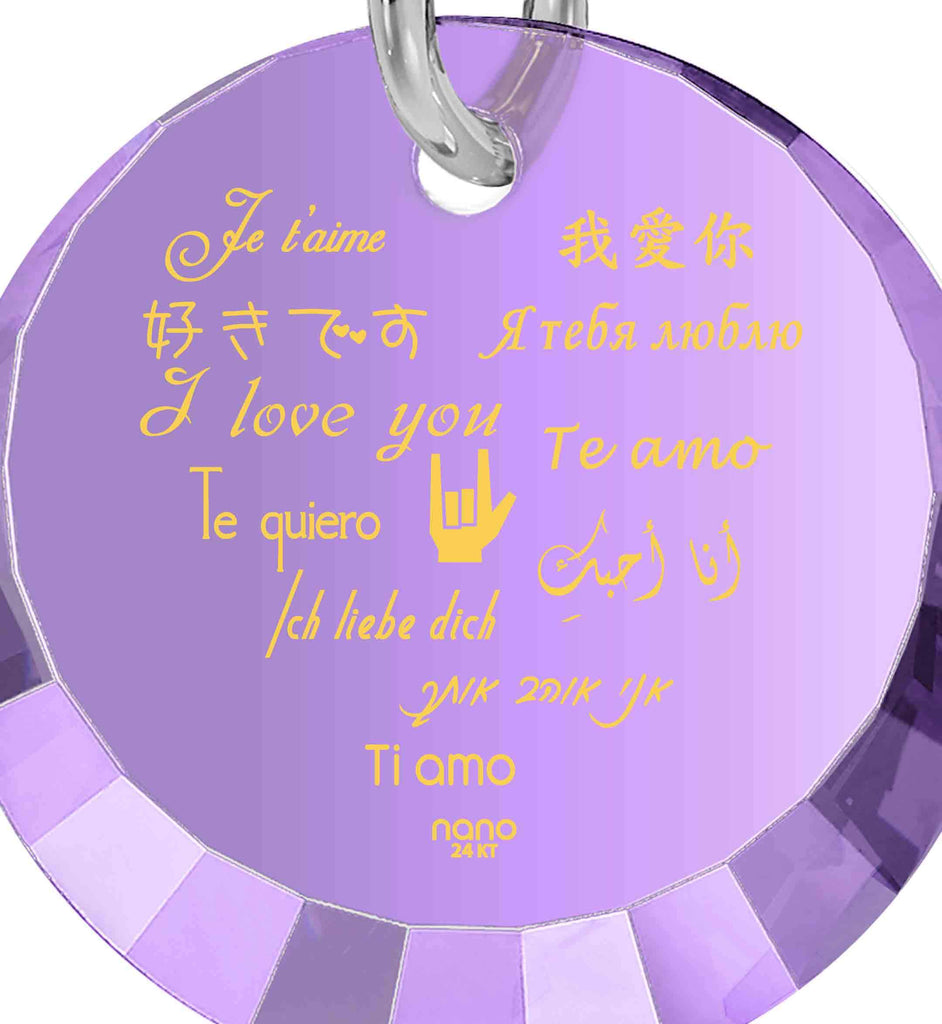 "Valentine Day Presents for Girlfriend: ""I Love You"" in 12 Languages - Small Round Facets - Nano Jewelry"